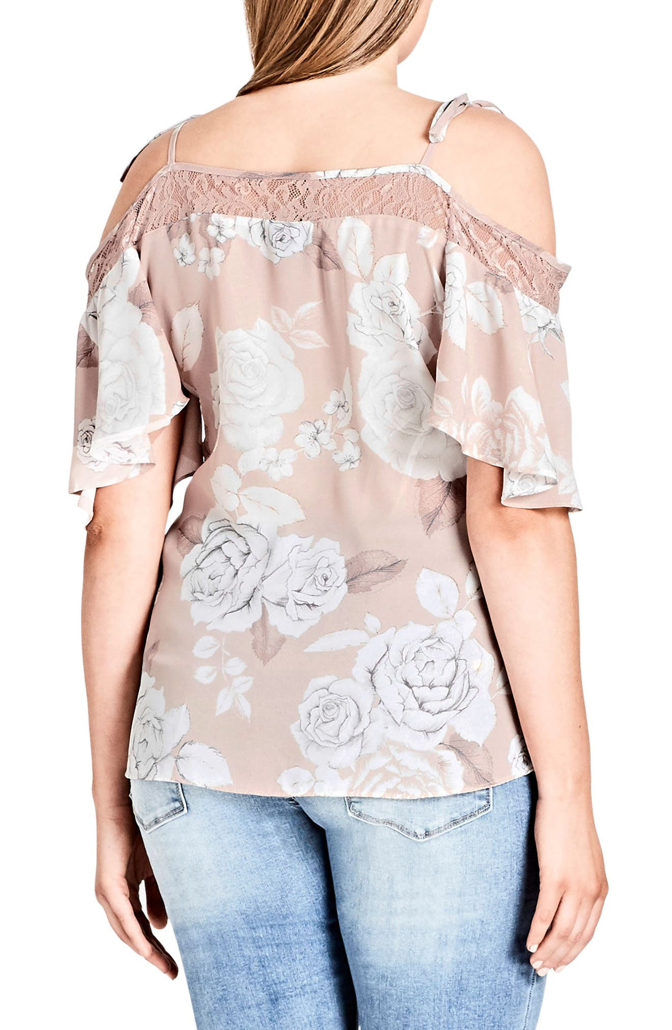 Whimsy Lace Cold Shoulder Top,                             Alternate thumbnail 2, color,                             Soft Whimsy