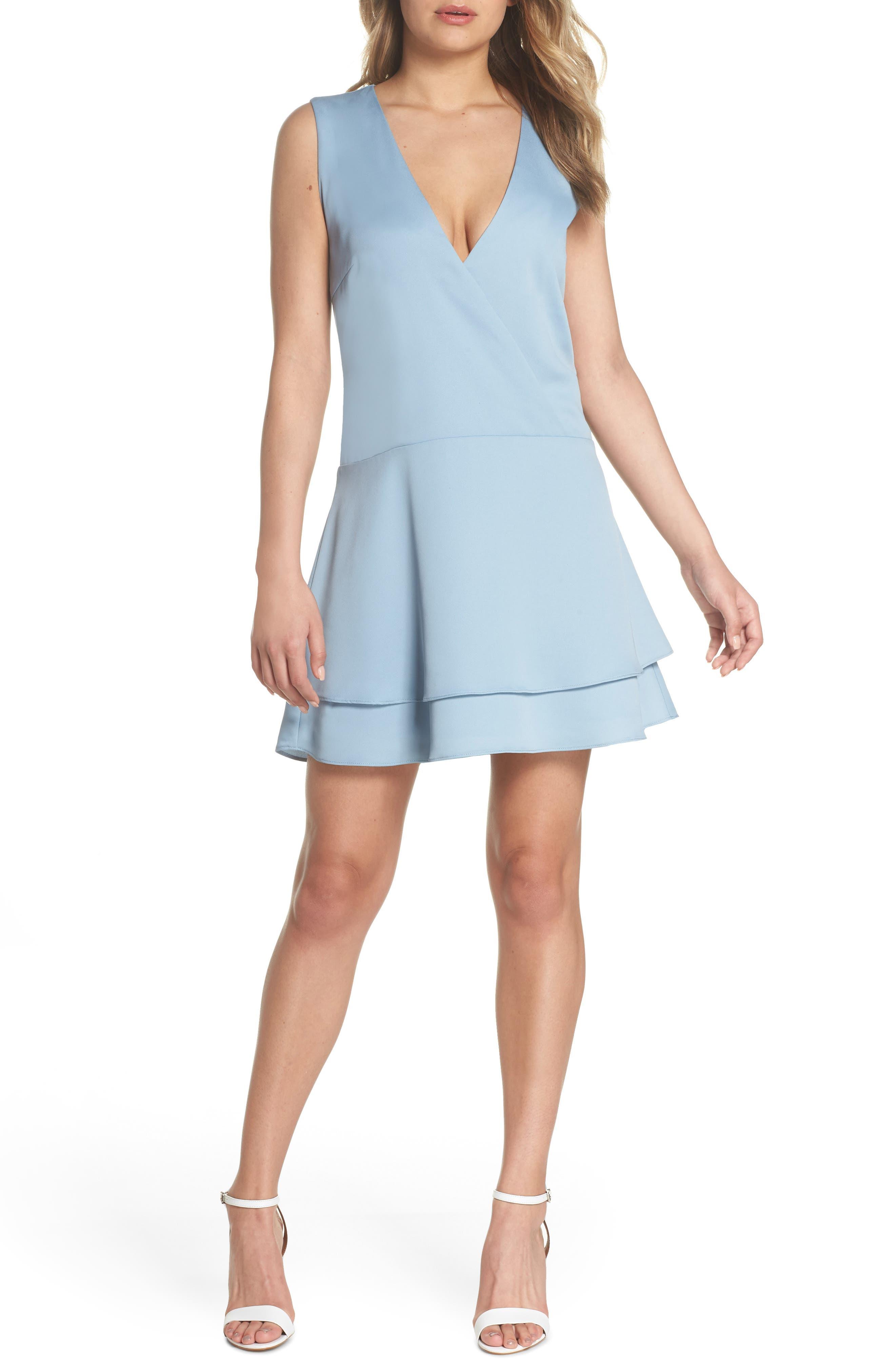Florence V-Neck Minidress,                         Main,                         color, Allure Blue