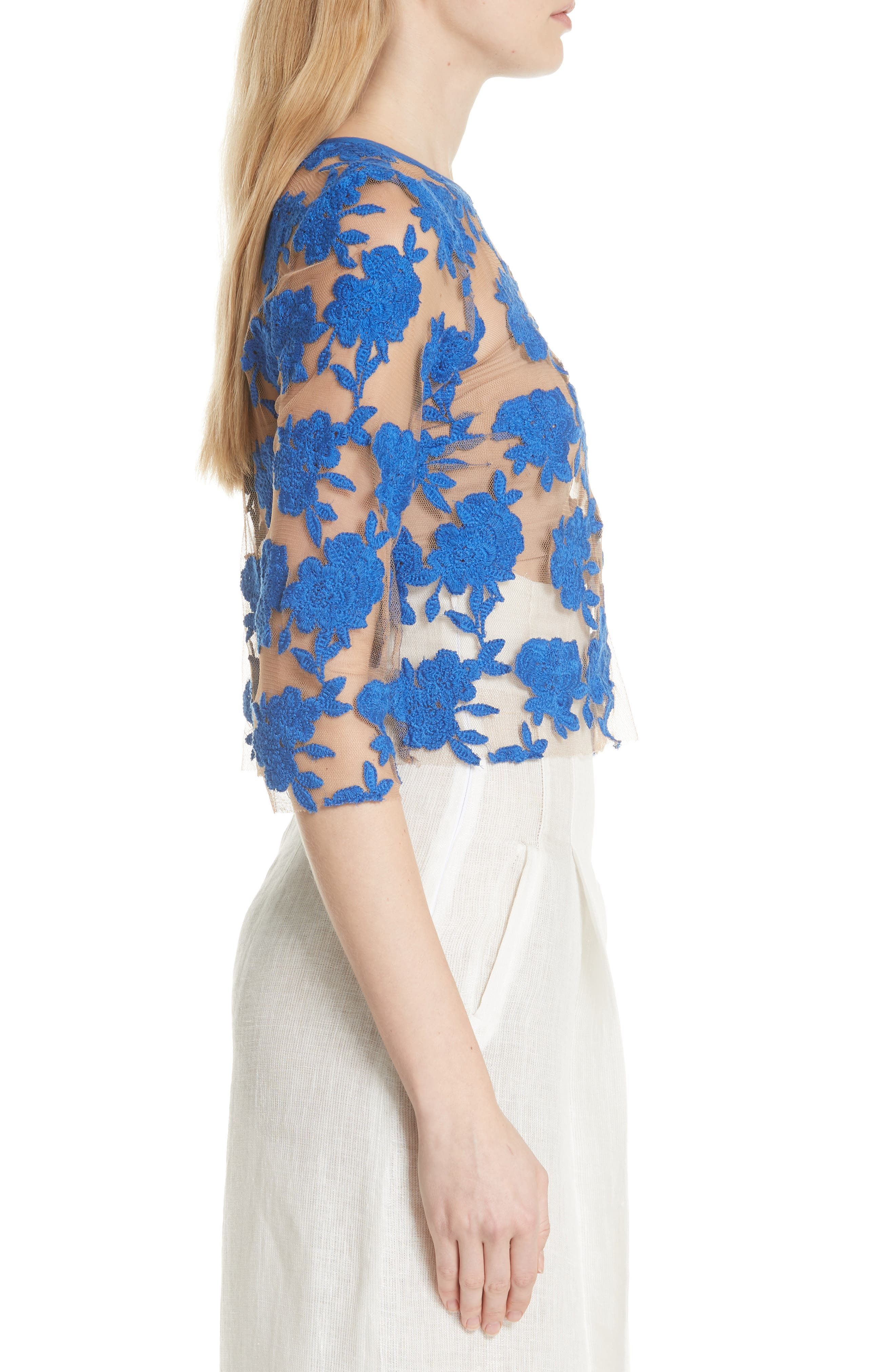 Sheer Embroidered Floral Top,                             Alternate thumbnail 3, color,                             Blue Pigment