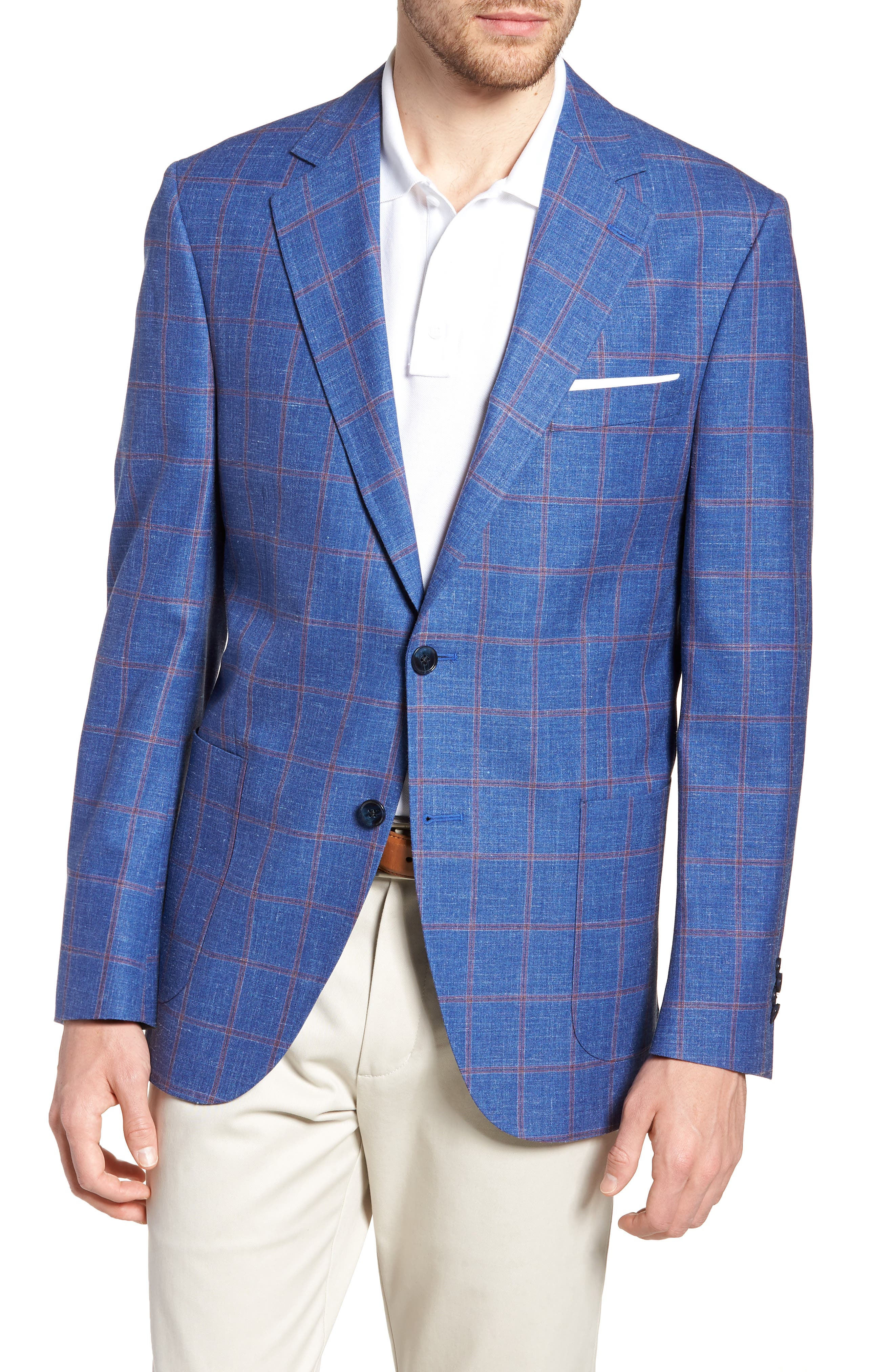Peter Millar Classic Fit Windowpane Wool Blend Sport Coat