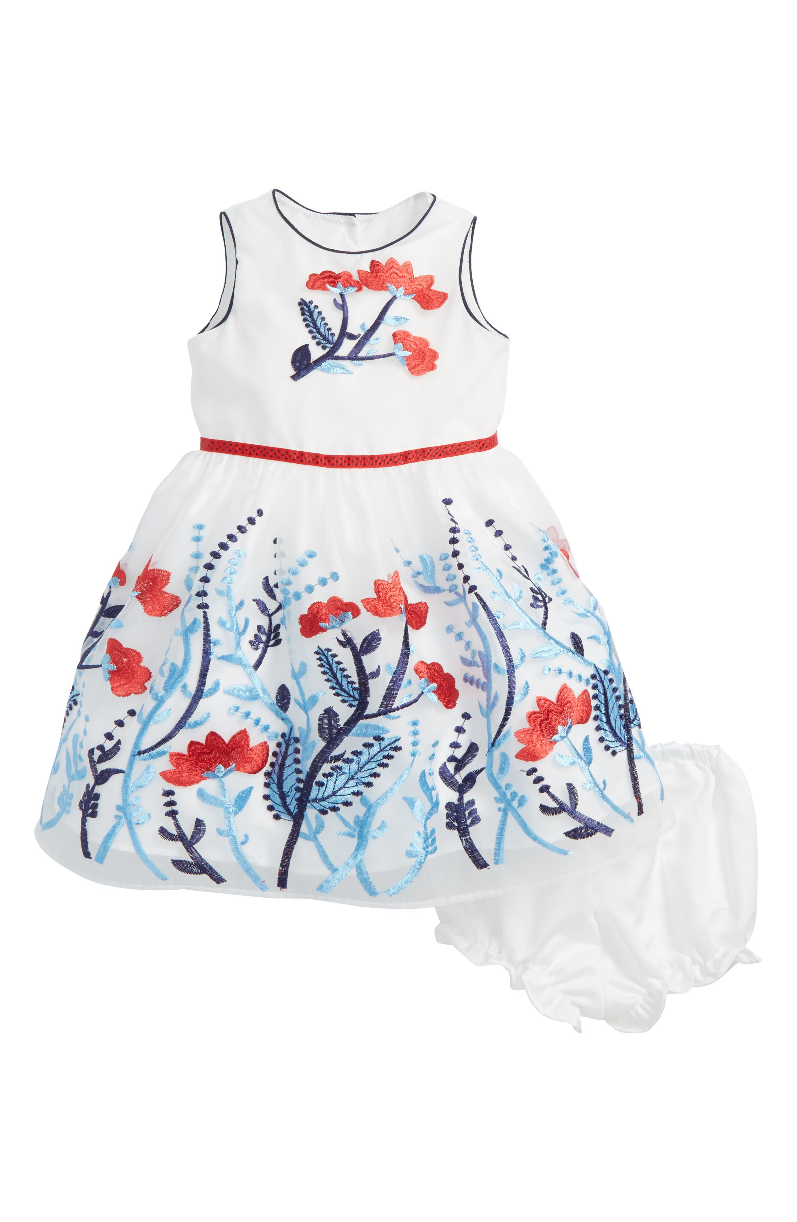 Embroidered Flower Dress,                             Main thumbnail 1, color,                             White Multi