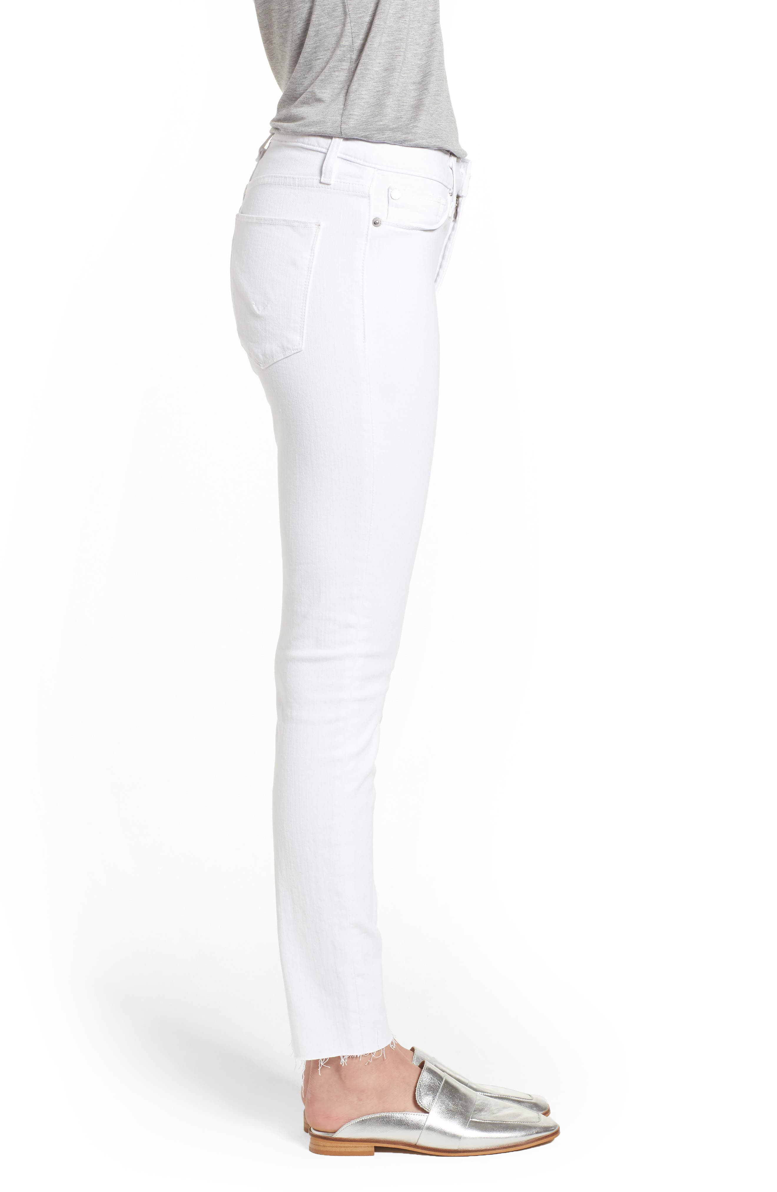 Barbara High Waist Raw Hem Ankle Skinny Jeans,                             Alternate thumbnail 3, color,                             Optical White
