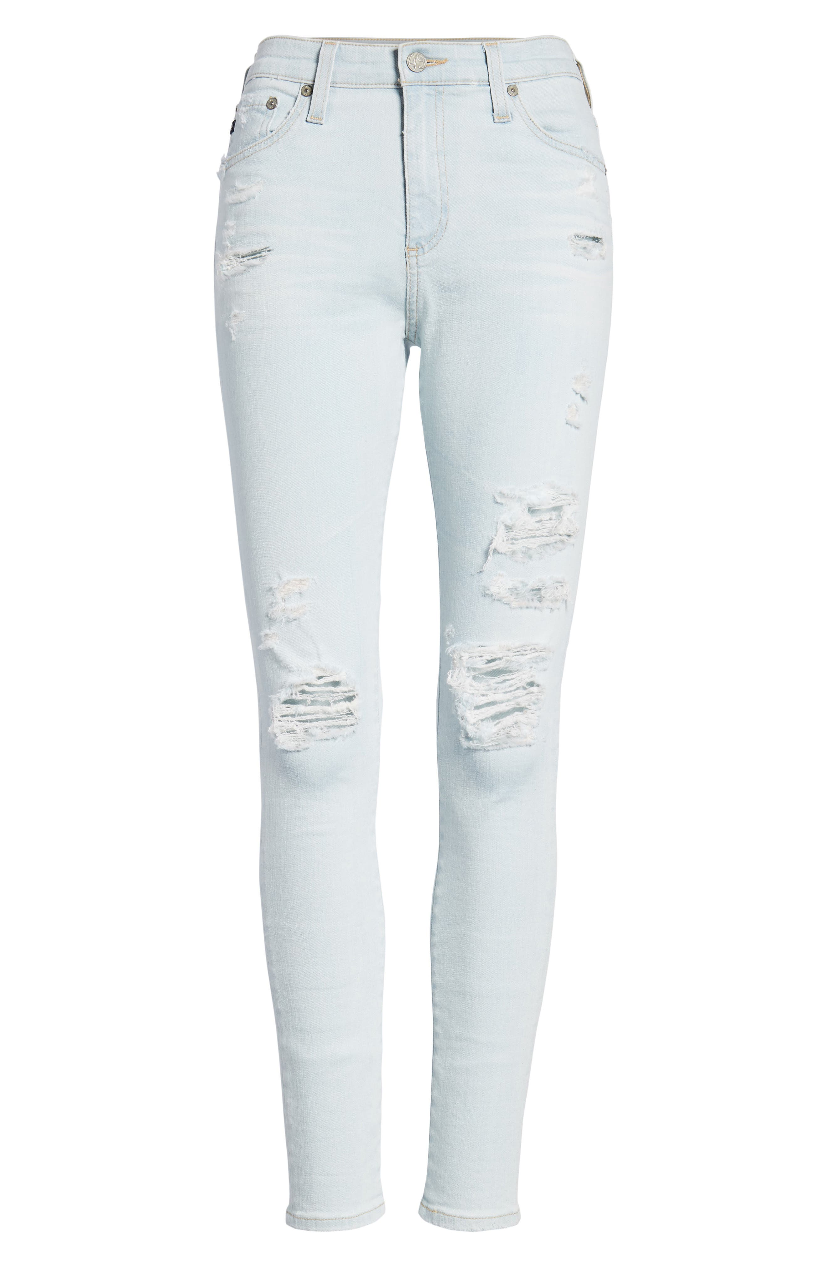 The Farrah Ripped High Waist Ankle Skinny Jeans,                             Alternate thumbnail 7, color,                             30 Years Wild Abandon