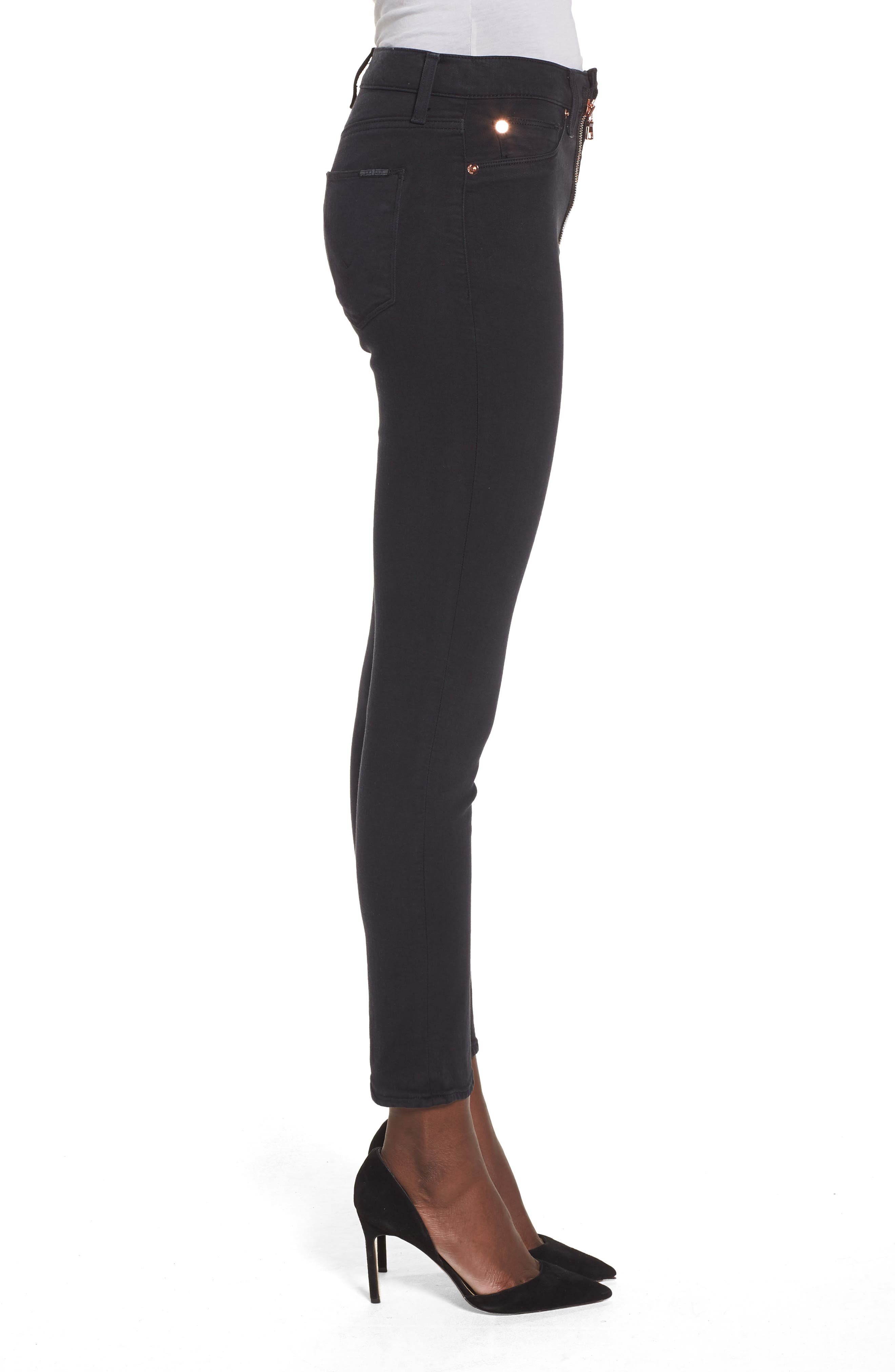 Barbara Exposed Zip High Waist Ankle Skinny Jeans,                             Alternate thumbnail 3, color,                             Maniac