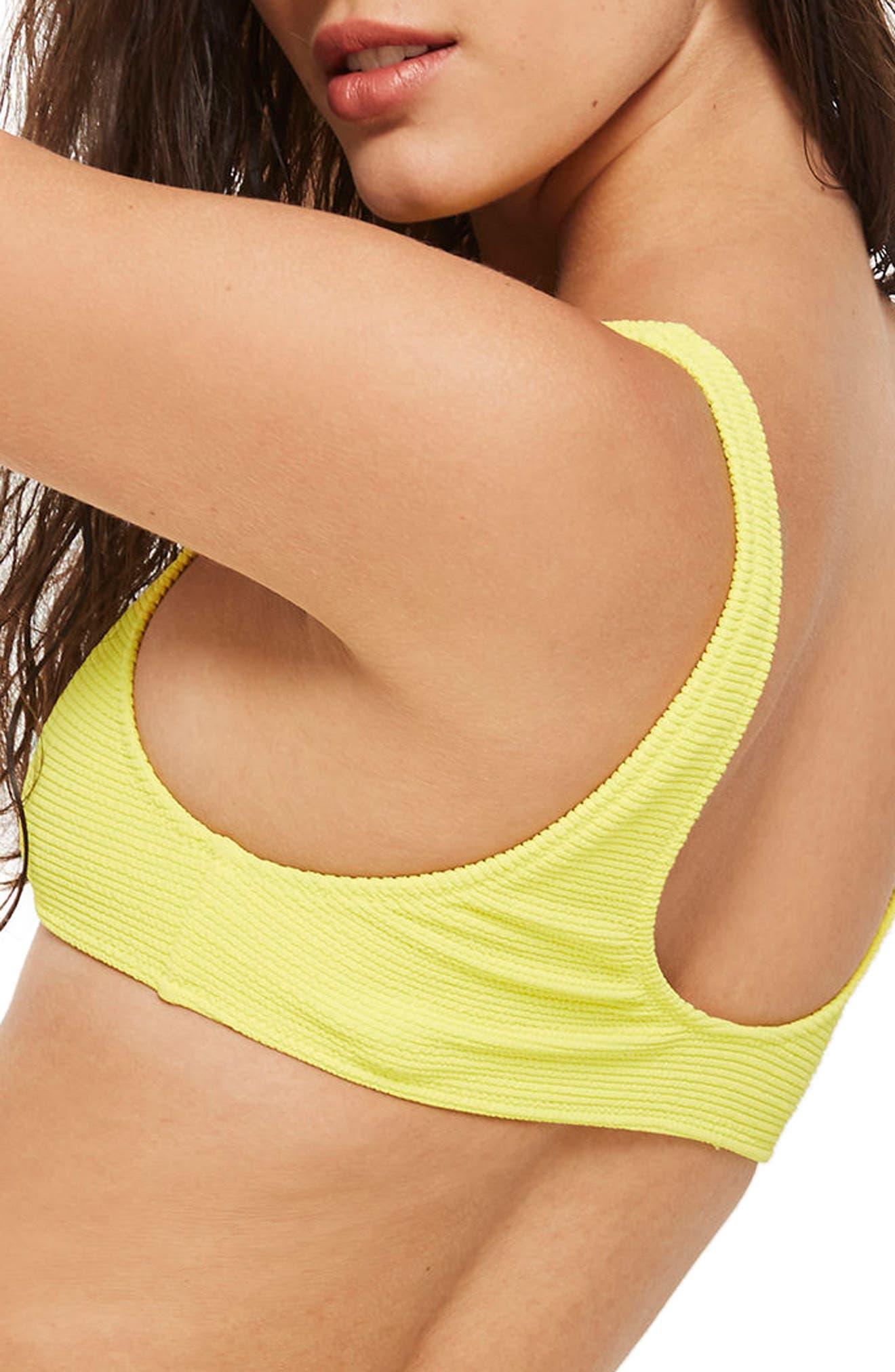 Crinkle Crop Bikini Top,                             Alternate thumbnail 2, color,                             Yellow
