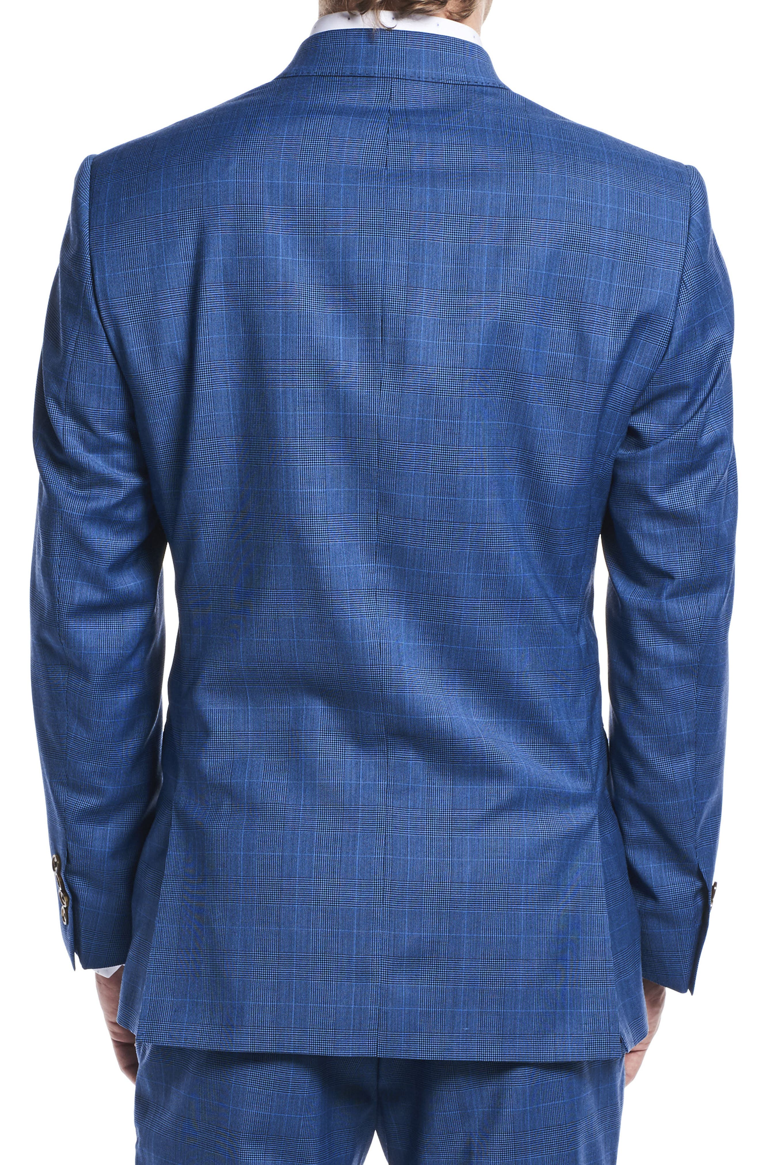 by Ilaria Urbinati Zooey Slim Fit Plaid Wool Suit,                             Alternate thumbnail 4, color,                             French Blue Glen Plaid