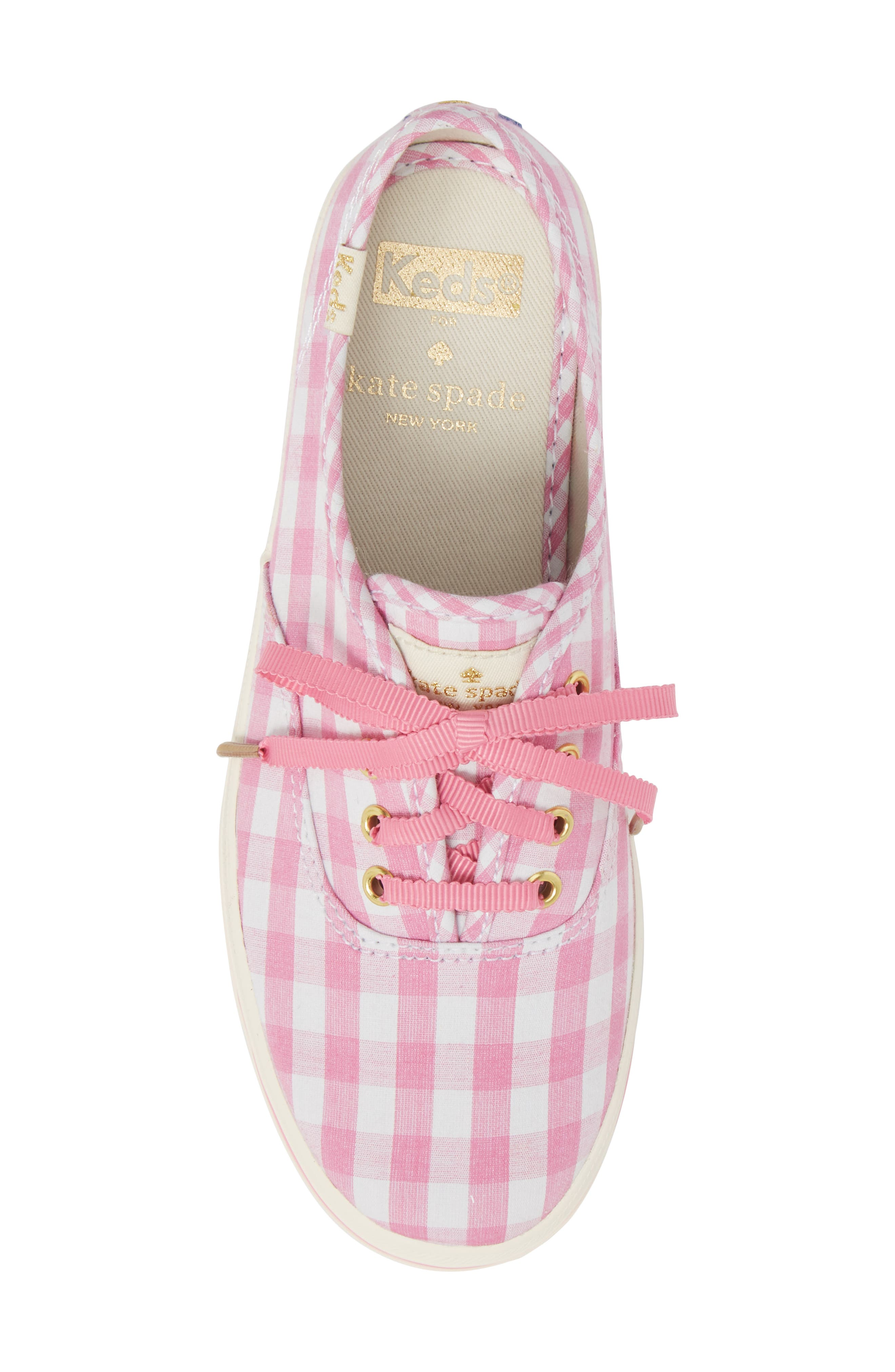 x kate spade new york champion gingham lace-up shoe,                             Alternate thumbnail 5, color,                             Pink Gingham