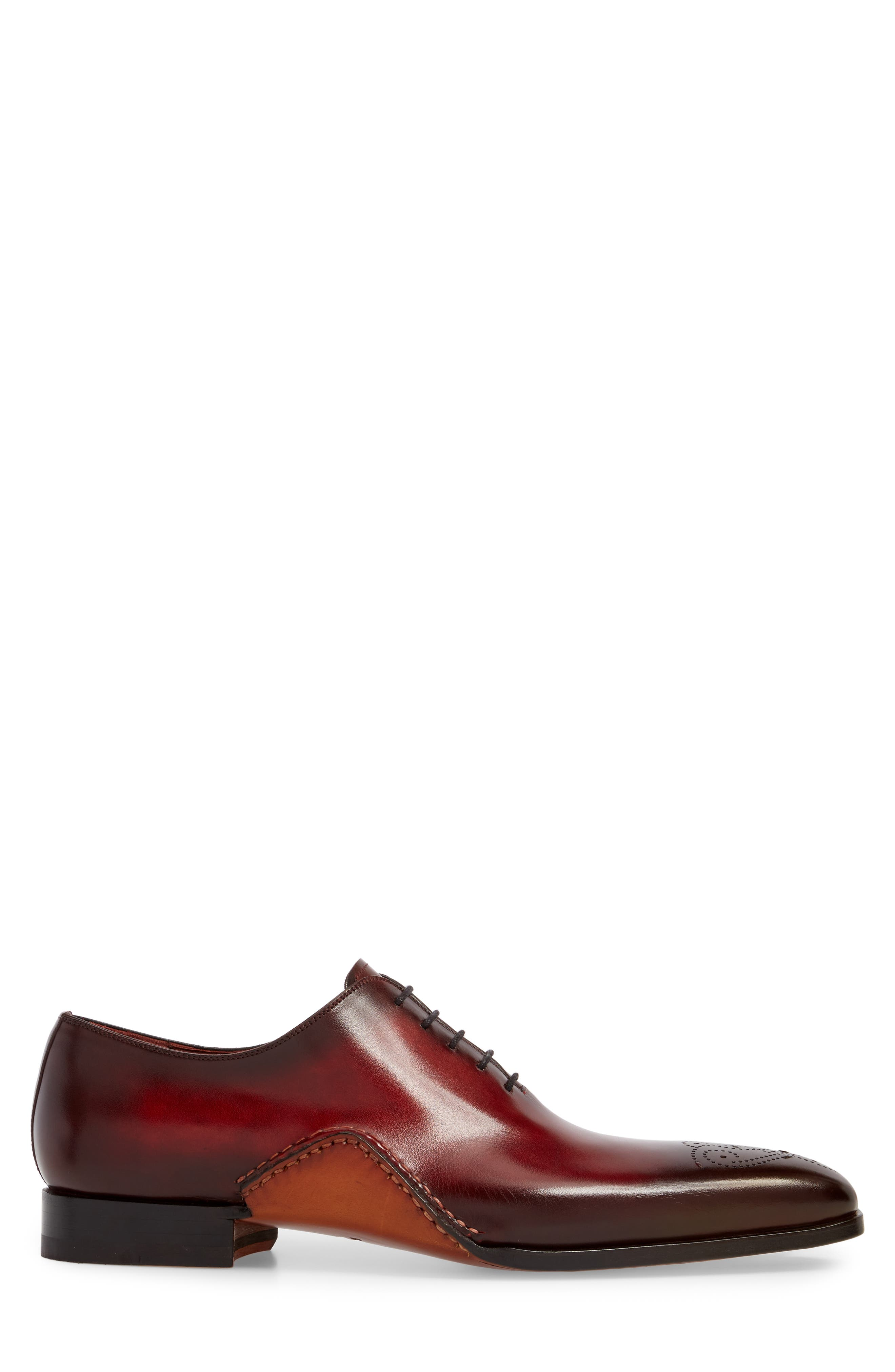 Vada Brogued Whole Cut Shoe,                             Alternate thumbnail 3, color,                             Red Leather