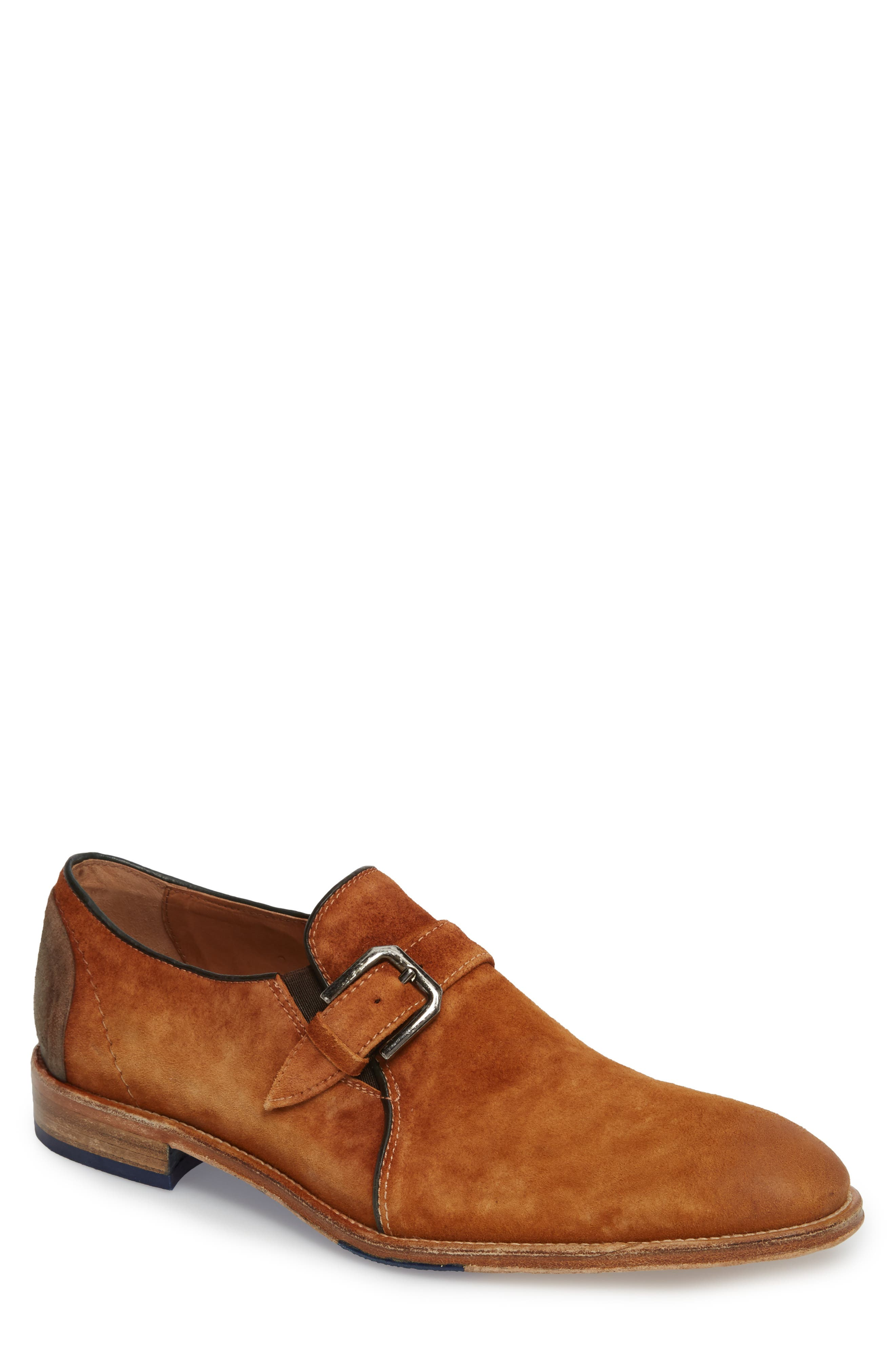 Alex Single Buckle Monk Shoe,                         Main,                         color, Tan Wash Suede