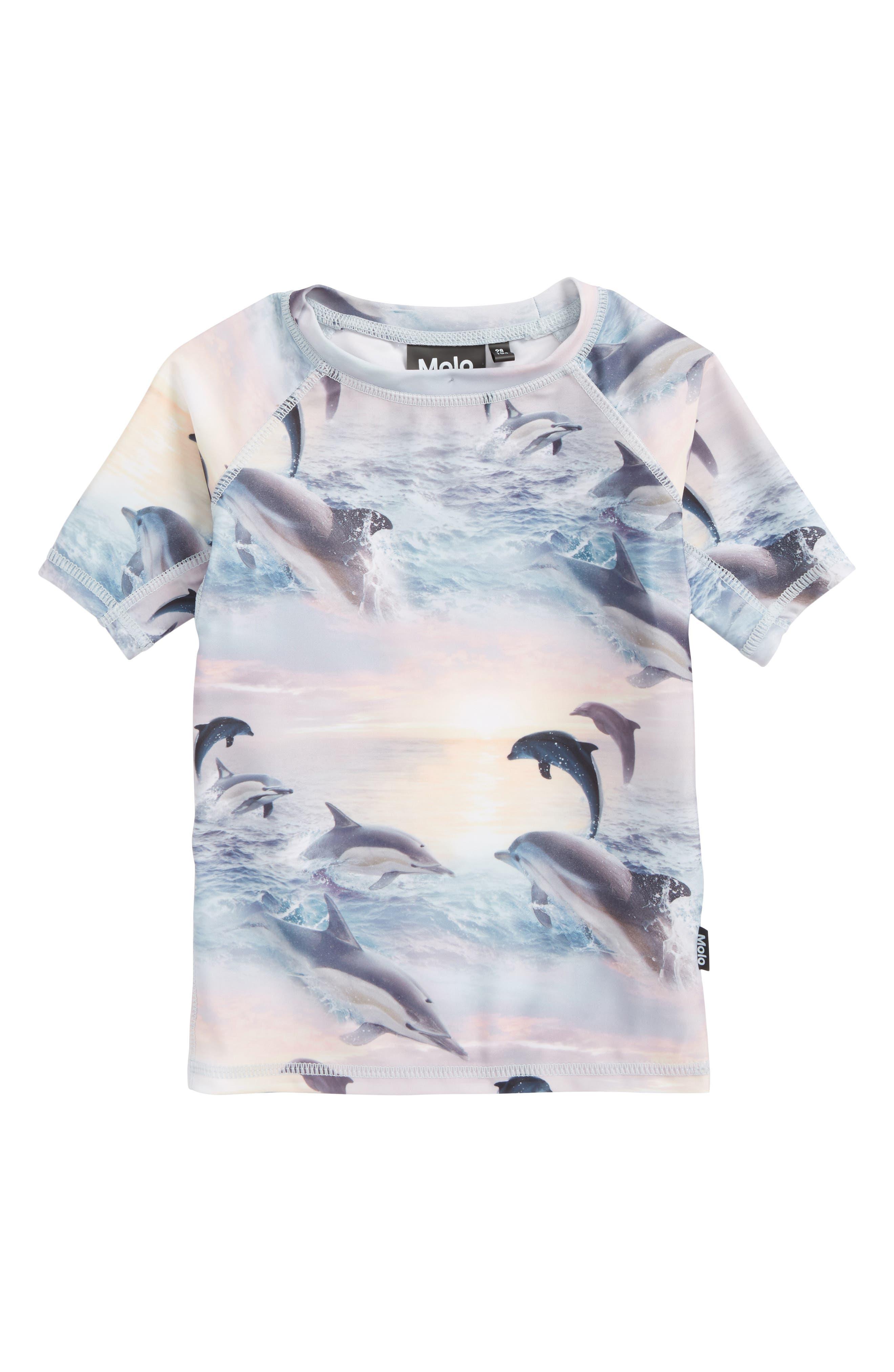 Neptune Short Sleeve Rashguard,                             Main thumbnail 1, color,                             Dolphins Sunset