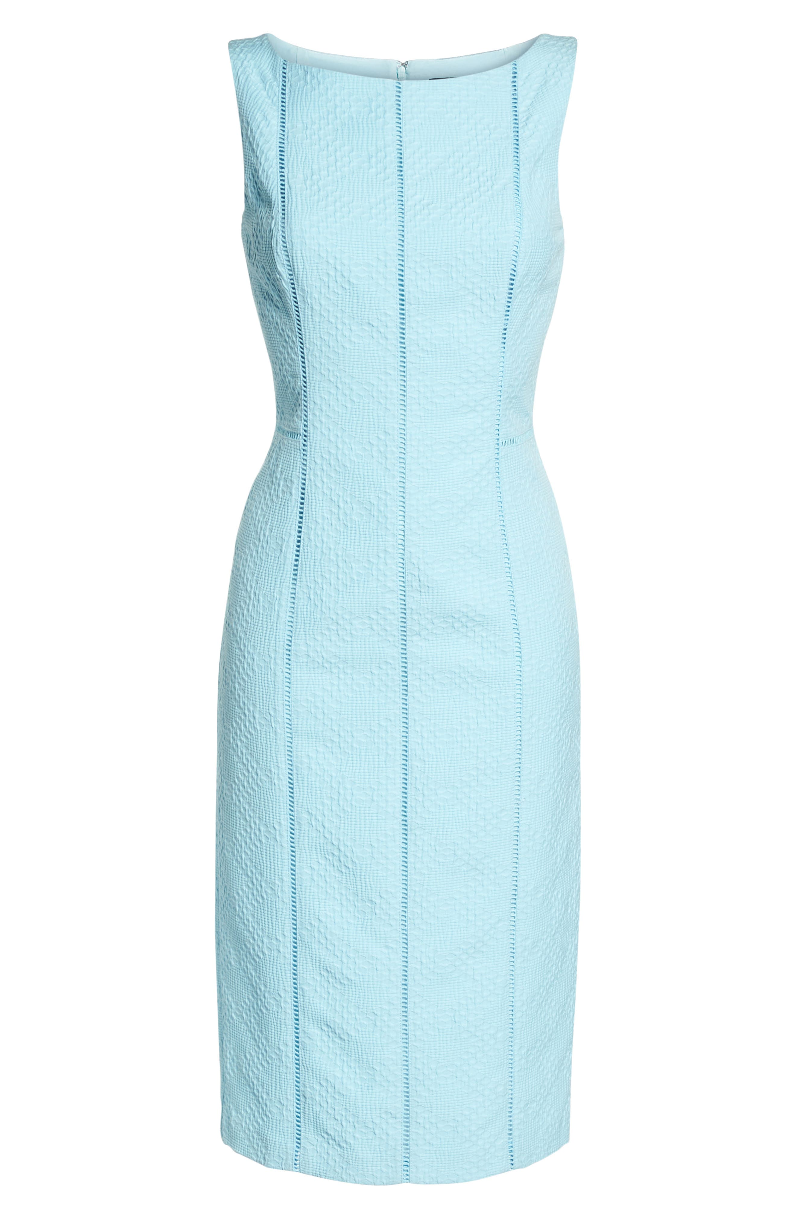 Stretch Pique Sheath Dress,                             Alternate thumbnail 7, color,                             Blue