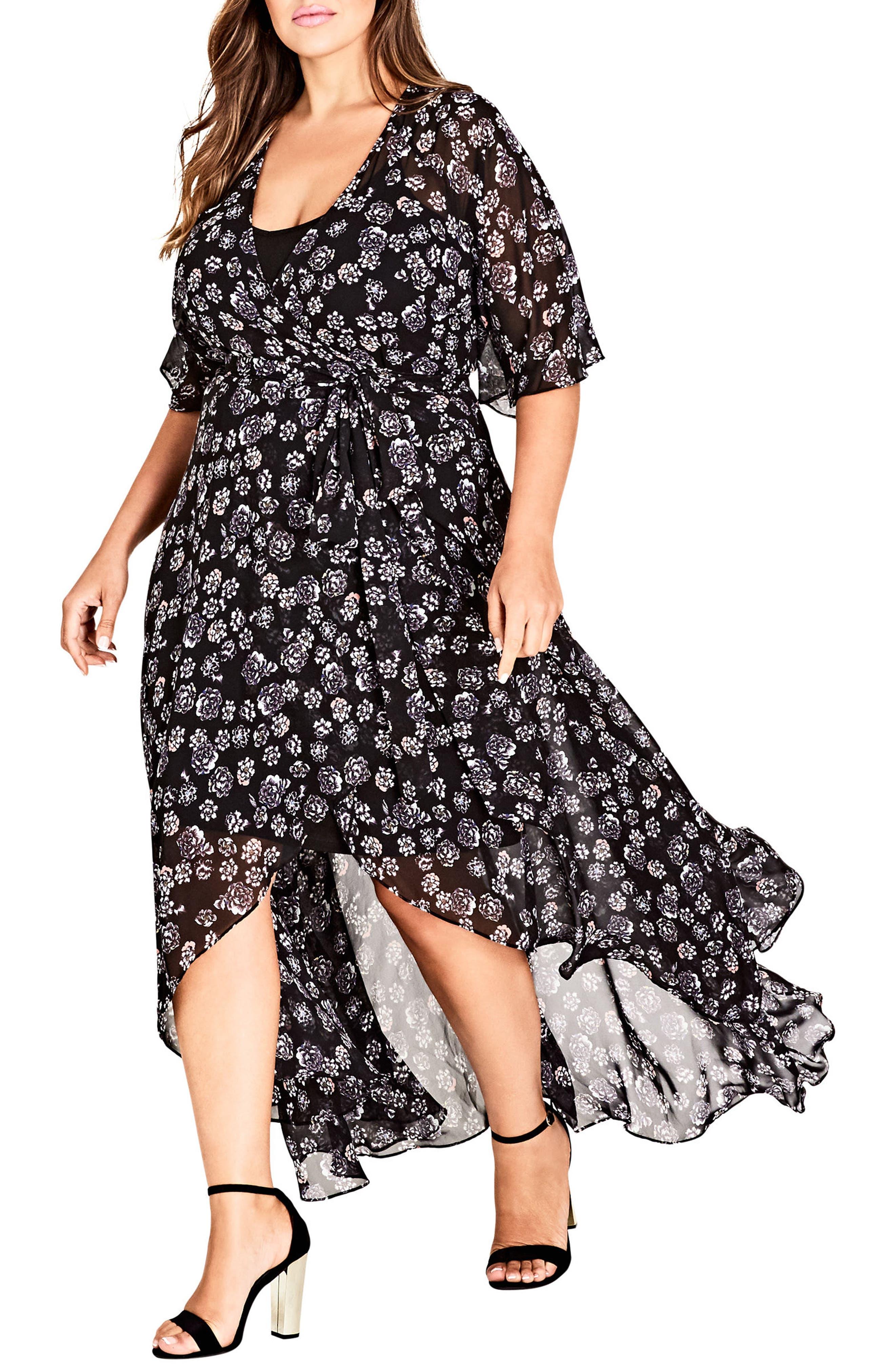 Main Image - City Chic Mini Flower Maxi Dress (Plus Size)