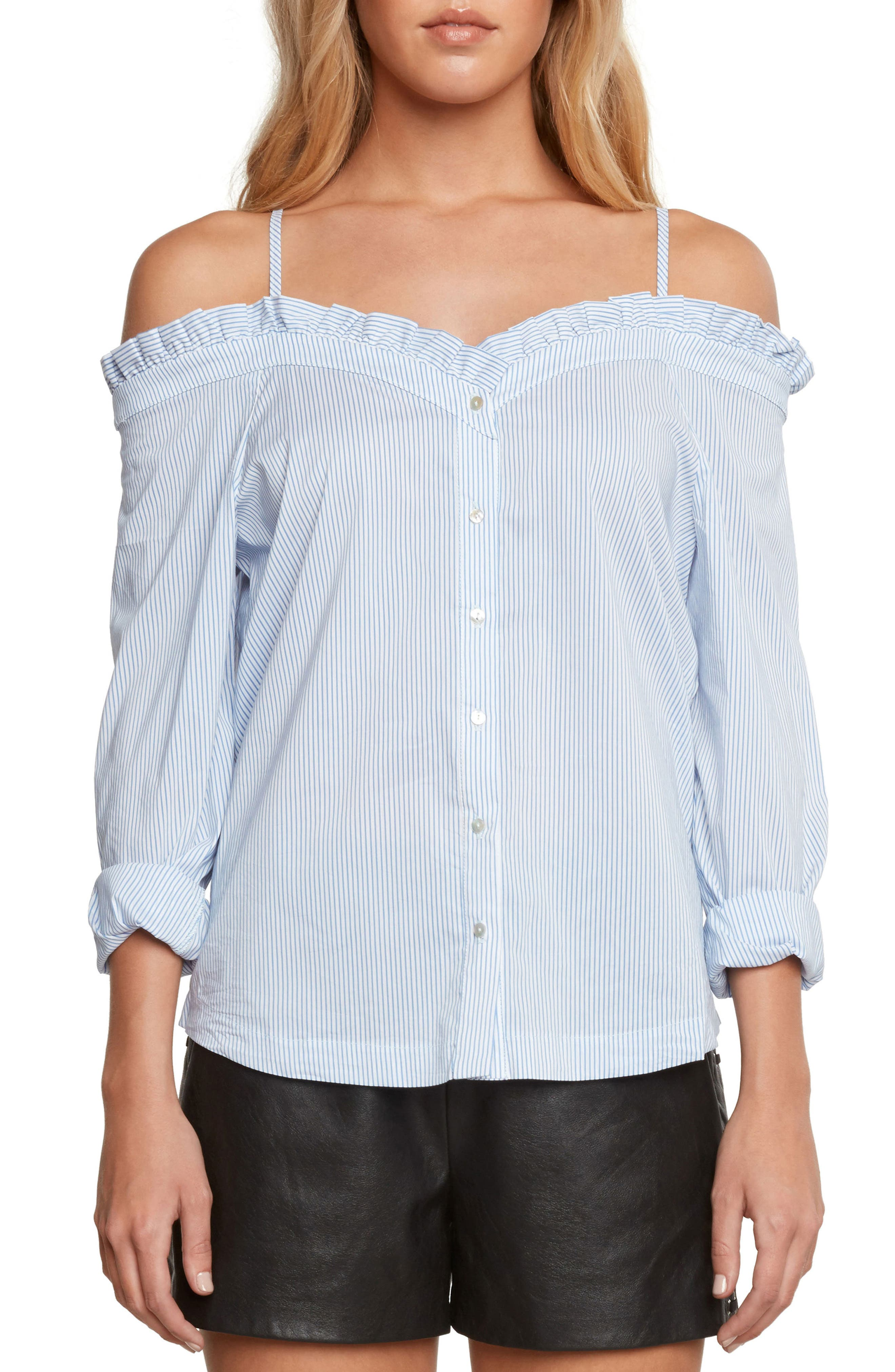 Off the Shoulder Poplin Top,                         Main,                         color, Chambray