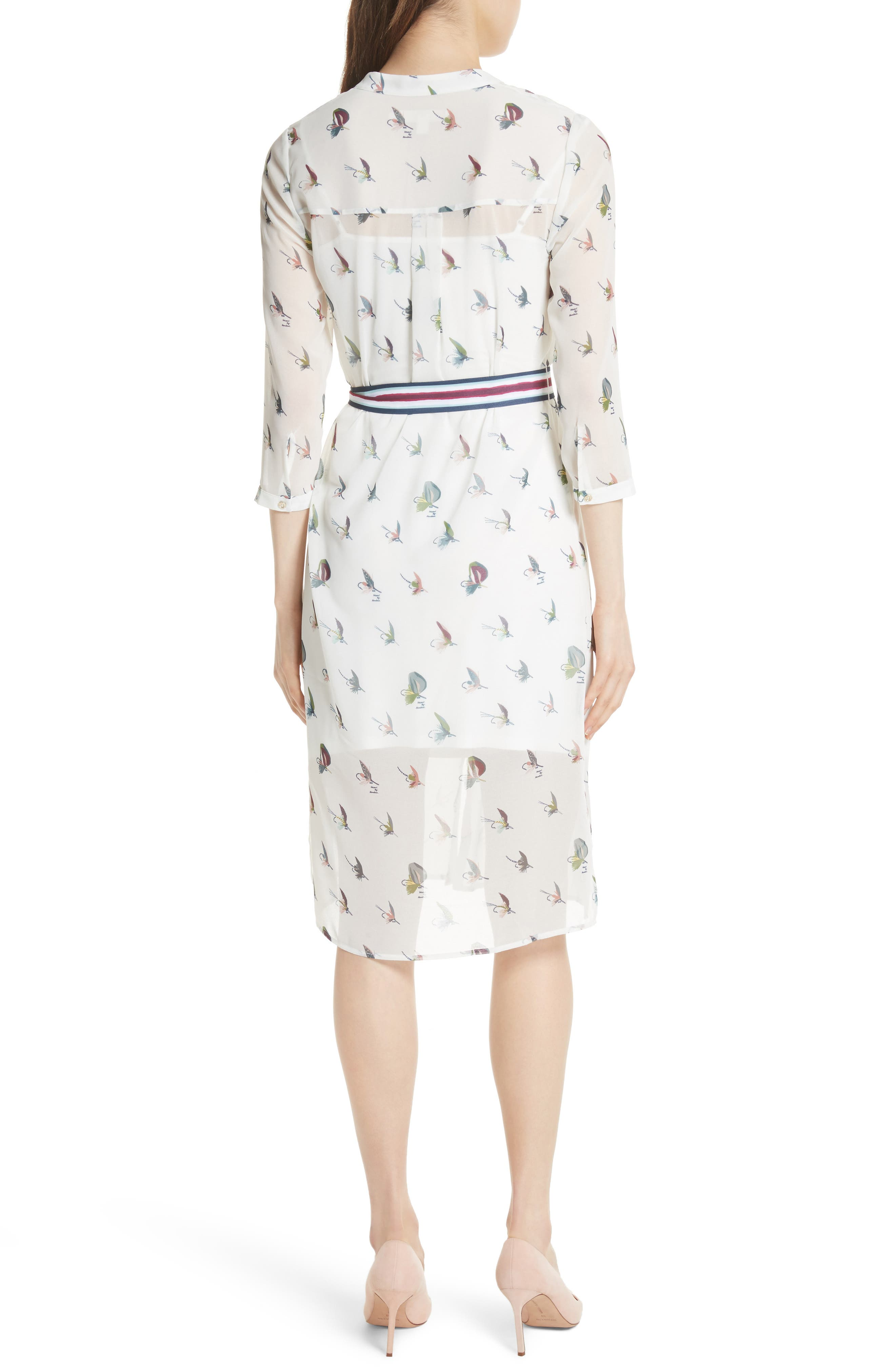 Colour by Numbers Zenaa Print Shirtdress,                             Alternate thumbnail 2, color,                             Ivory