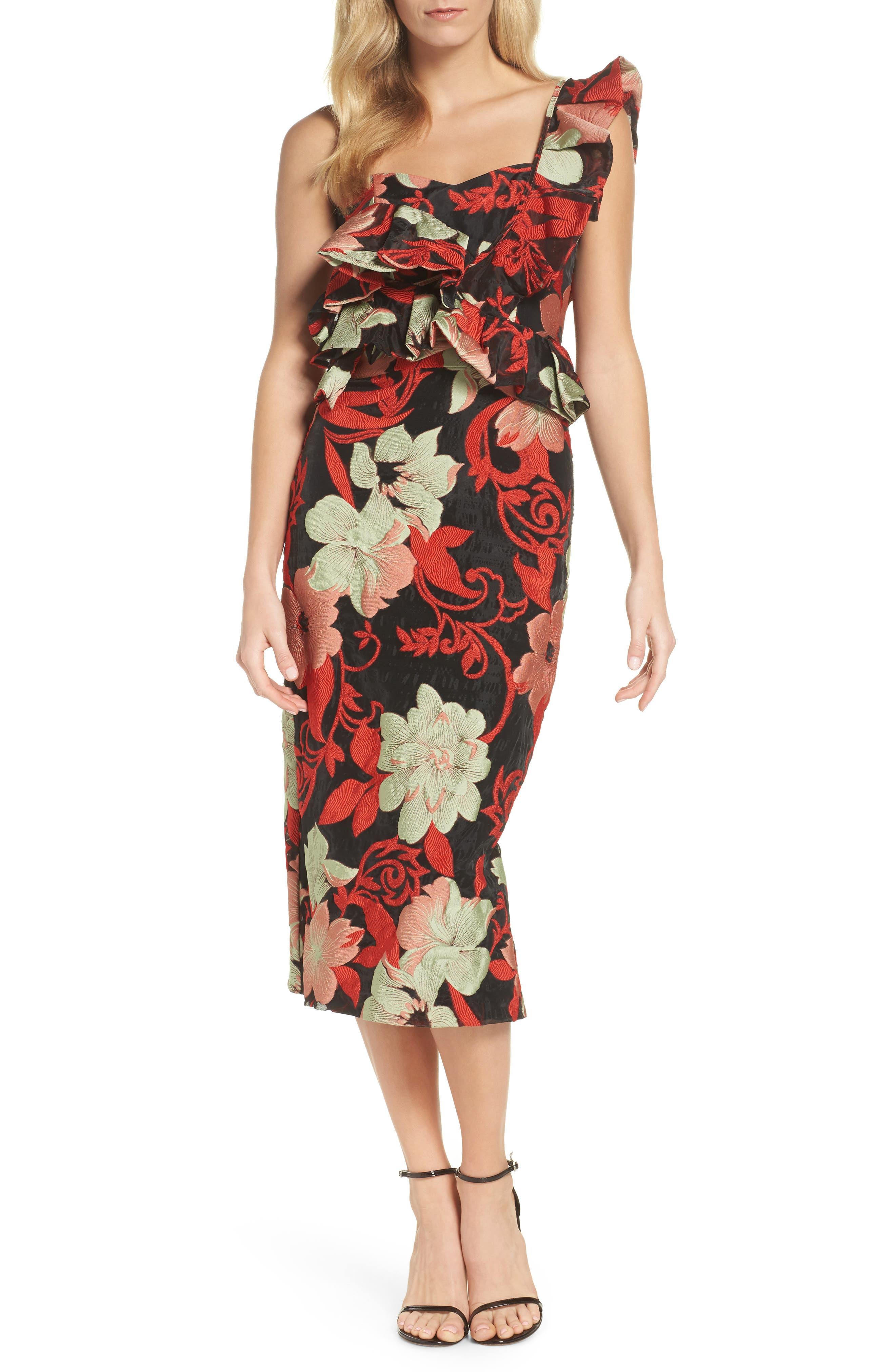 Katalina One-Shoulder Midi Dress,                         Main,                         color, Magnolia Multi