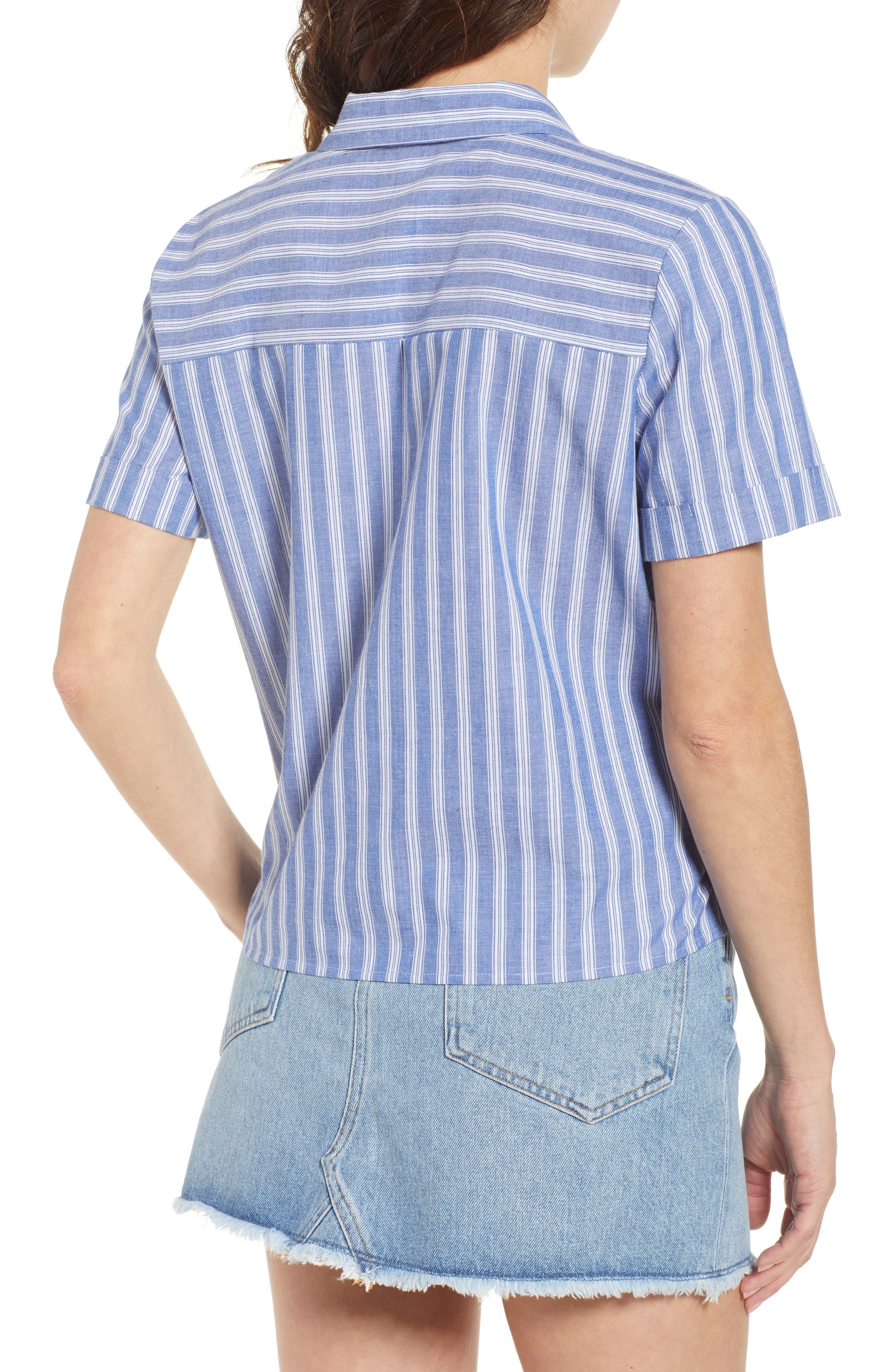 Stripe Tie Hem Top,                             Alternate thumbnail 2, color,                             Blue Celestial Stripe
