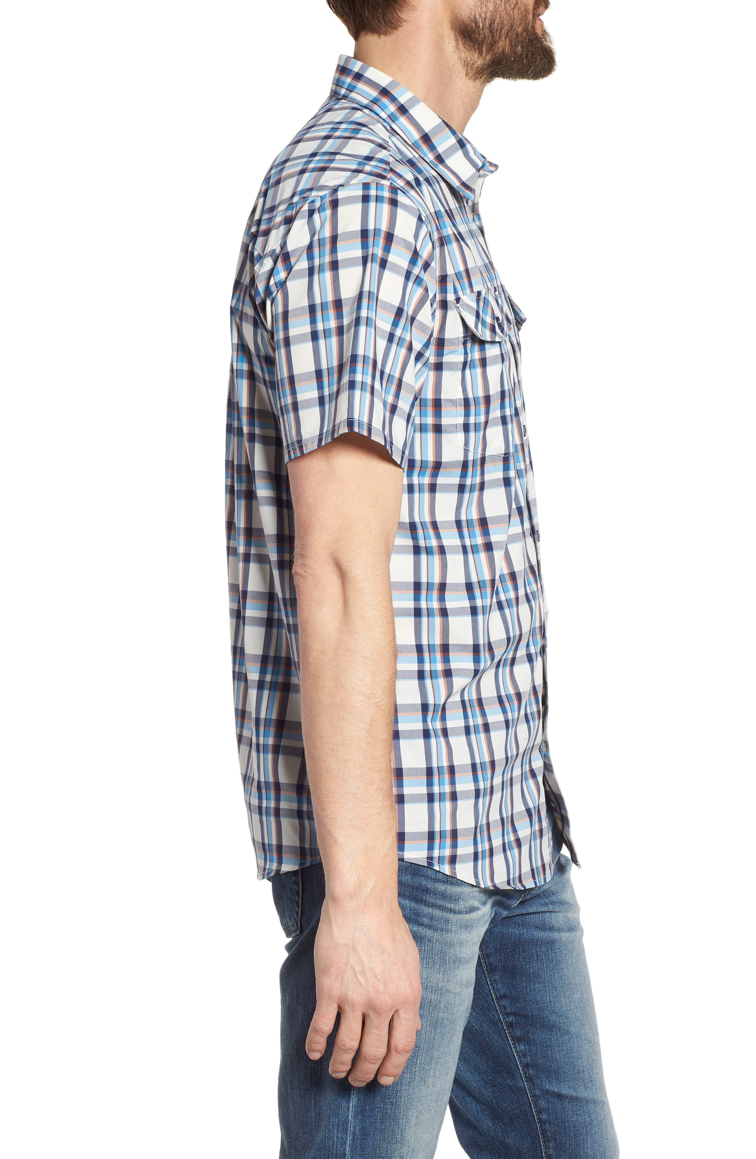 High Moss Regular Fit Short Sleeve Sport Shirt,                             Alternate thumbnail 4, color,                             Anchor/ Birch White