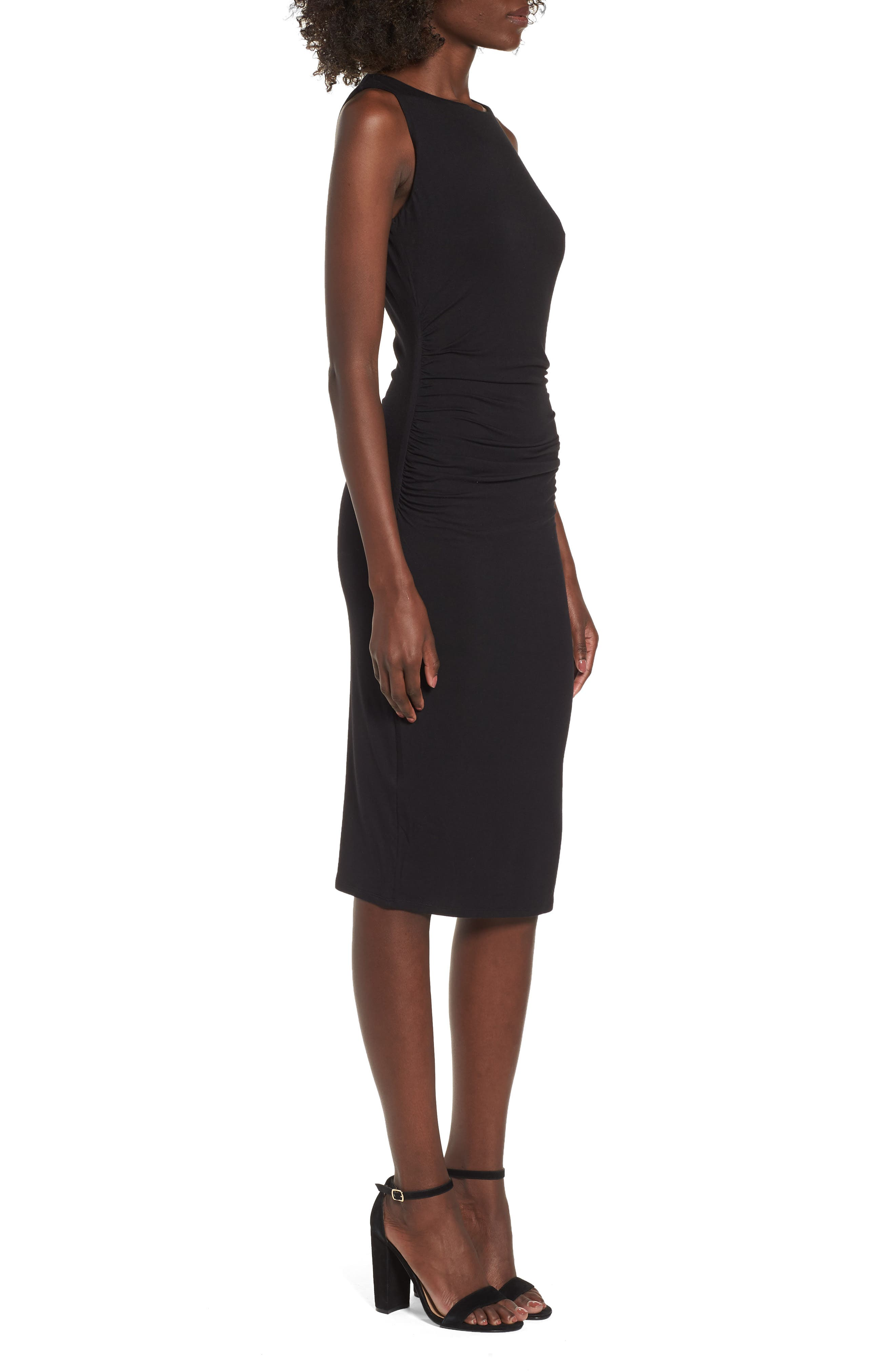 Ruched Sheath Dress,                             Alternate thumbnail 3, color,                             Black