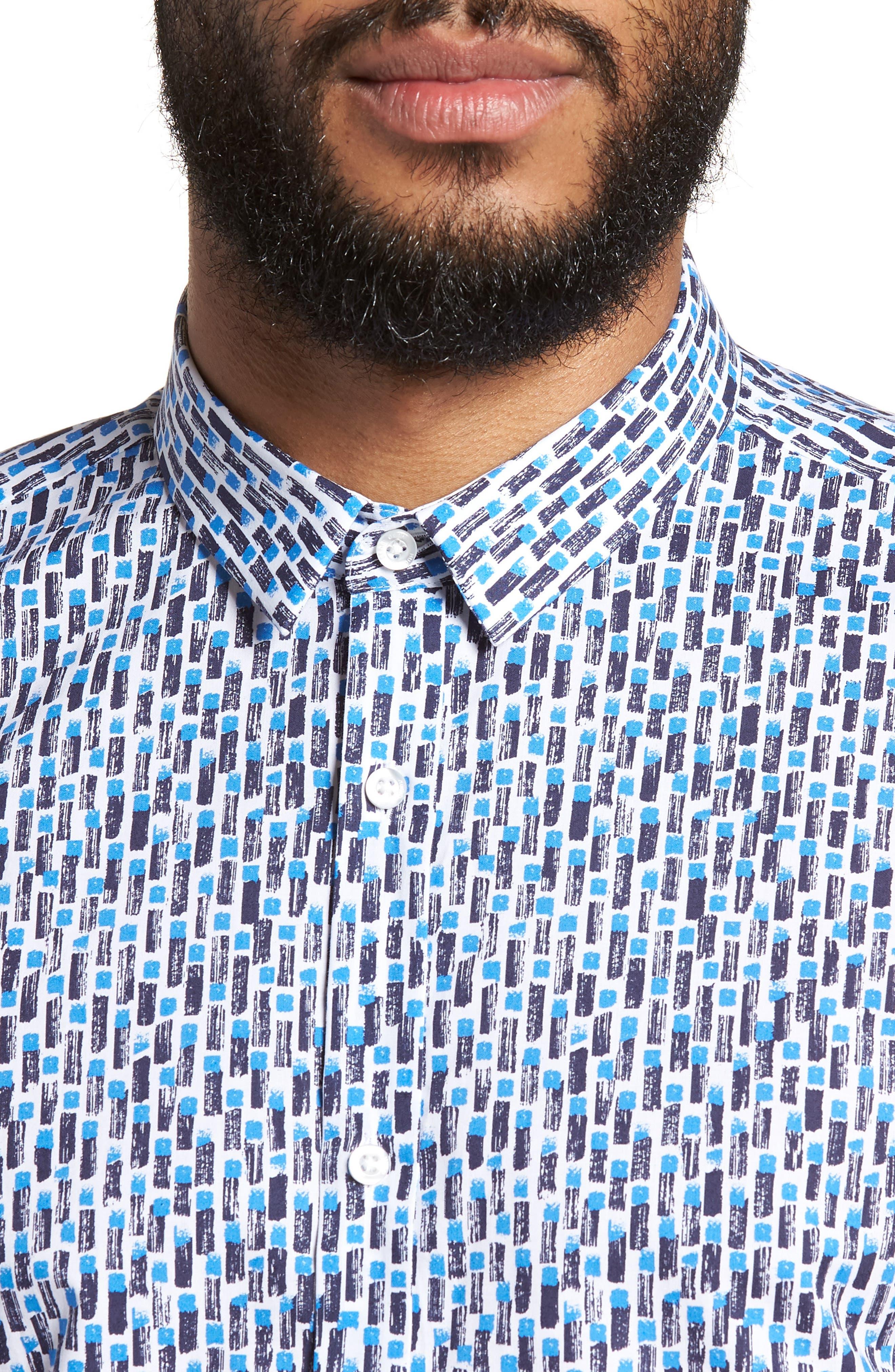 Empson Trim Fit Print Short Sleeve Sport Shirt,                             Alternate thumbnail 4, color,                             Blue