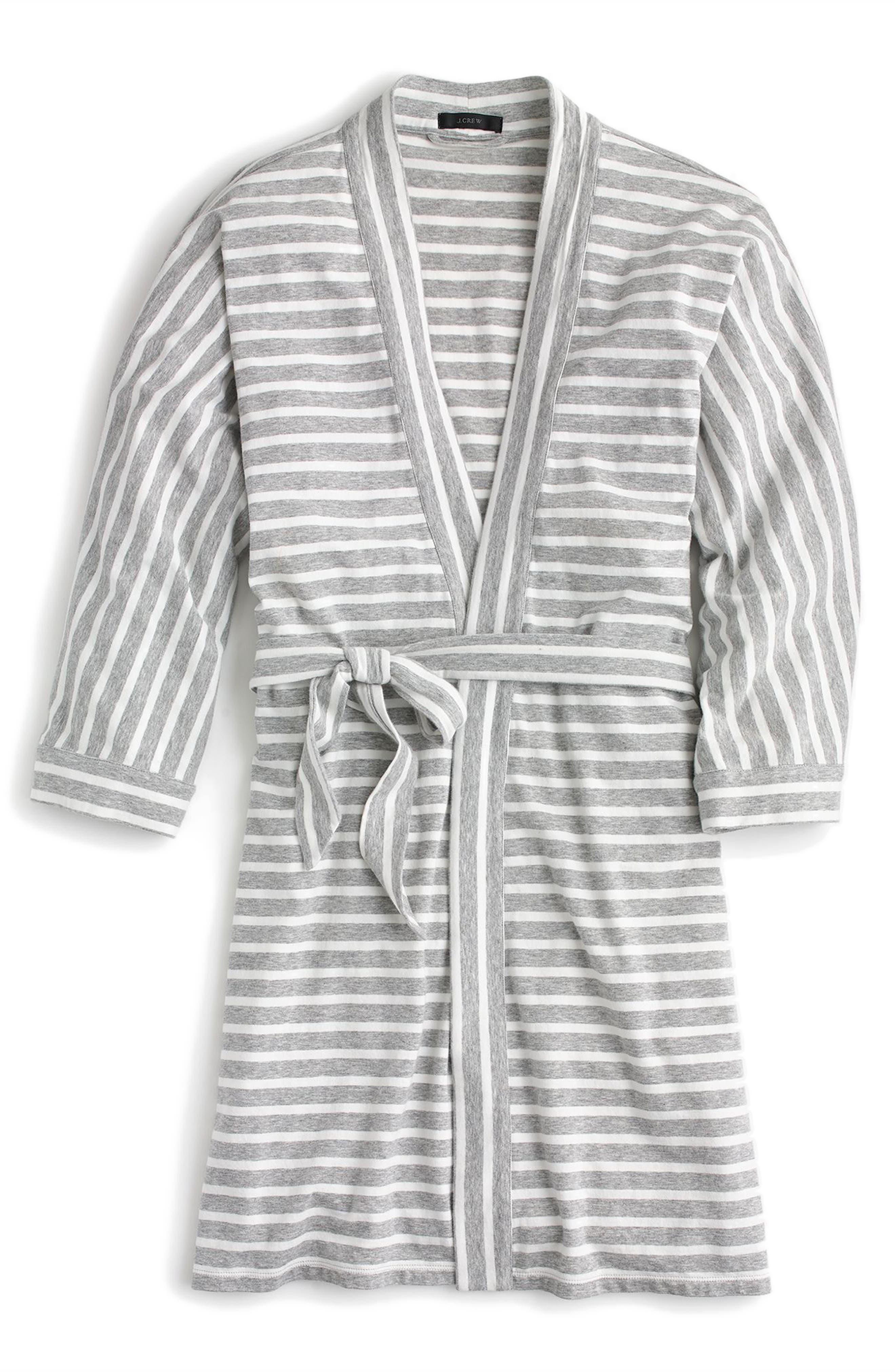 Stripe Stretch Cotton Robe,                             Alternate thumbnail 3, color,                             Hthr Gray Ivory