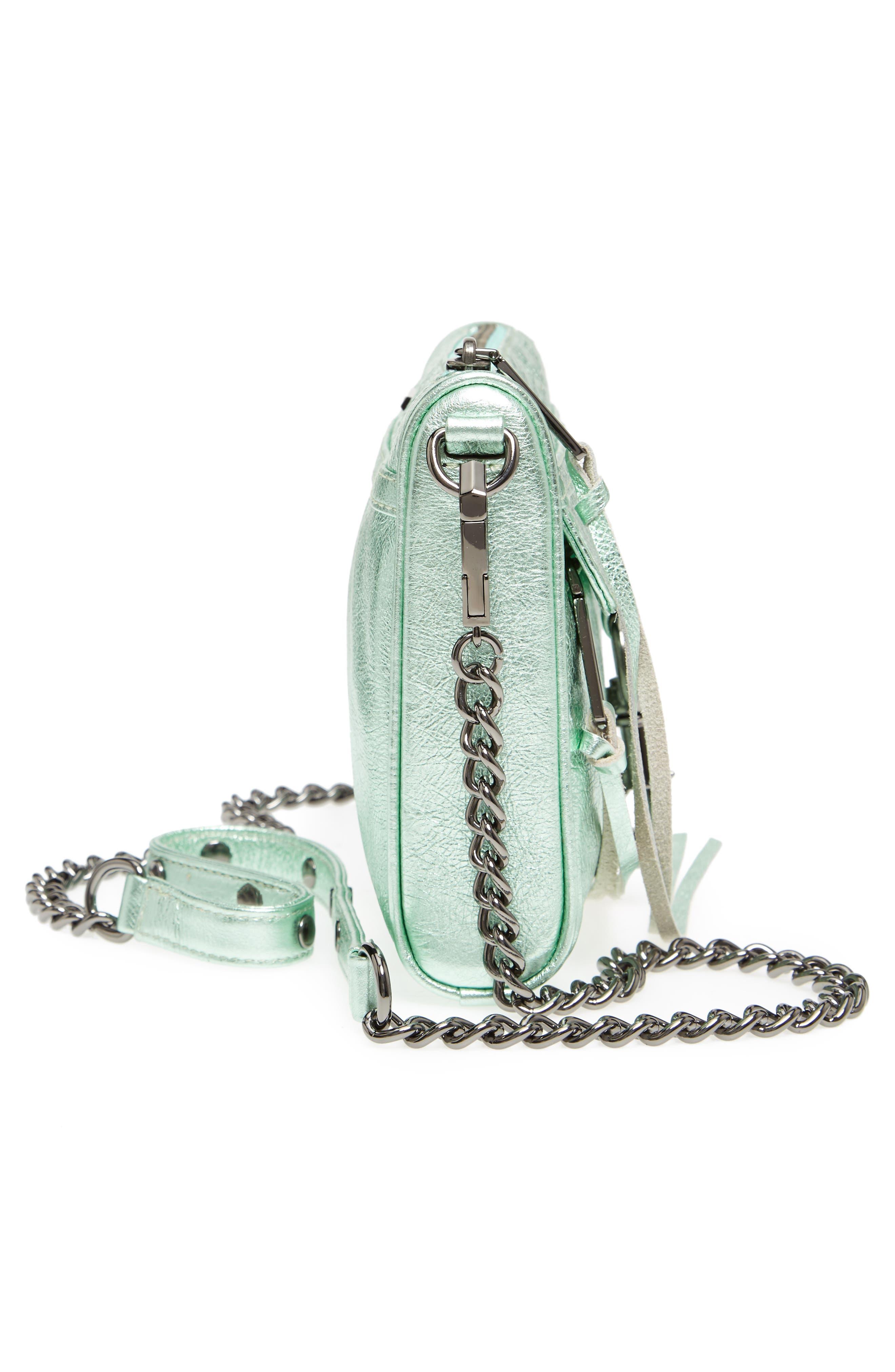Mini MAC Metallic Leather Convertible Crossbody Bag,                             Alternate thumbnail 5, color,                             Mint