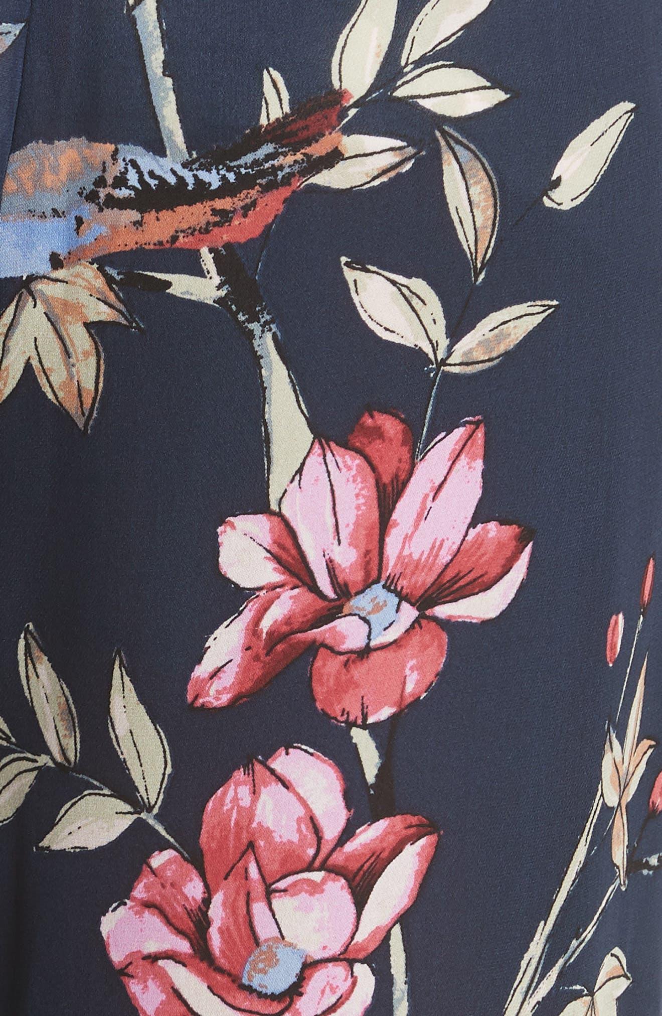 Daltona Floral Silk Pants,                             Alternate thumbnail 5, color,                             Dark Navy
