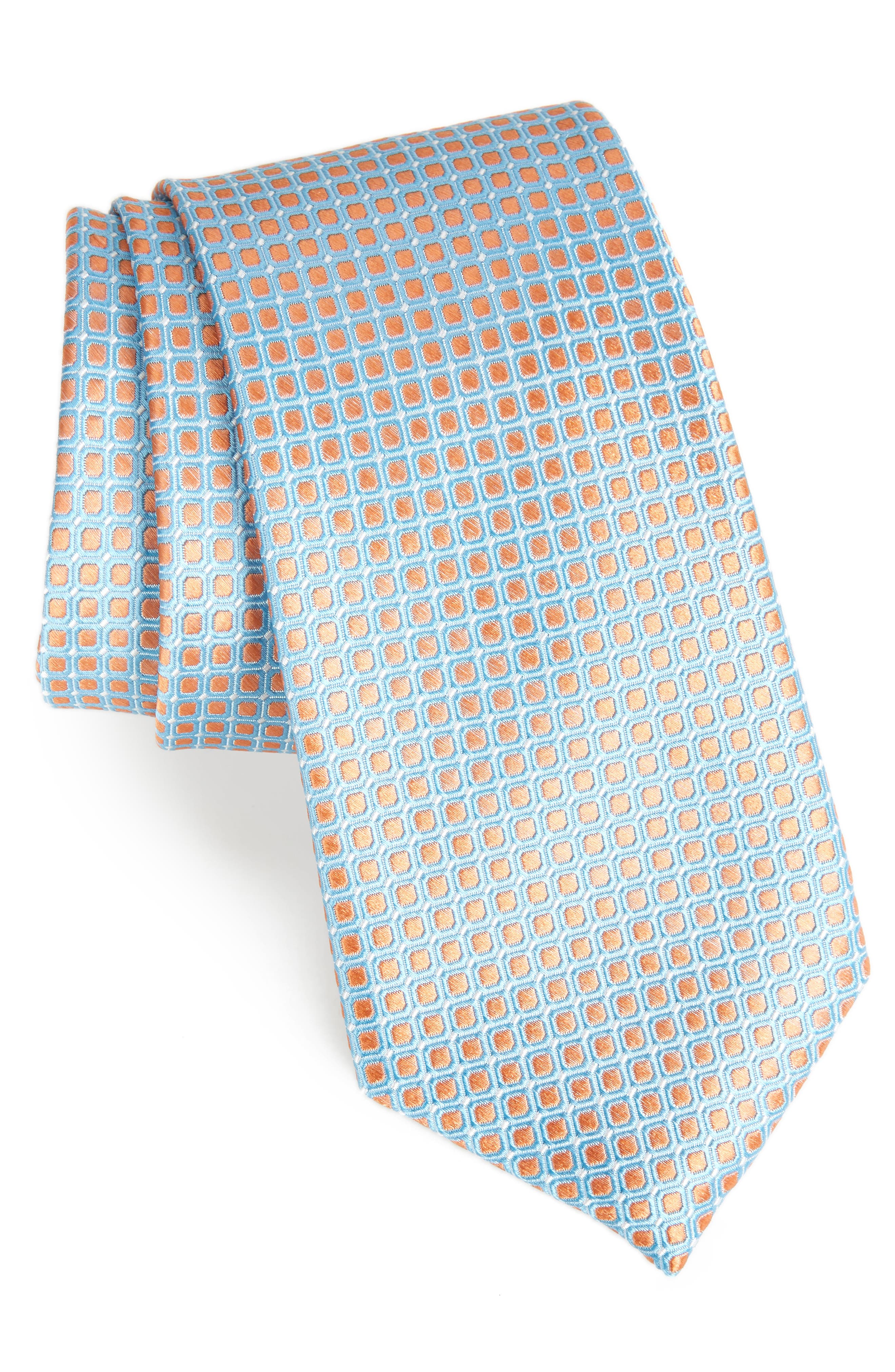 Laguna Check Silk Tie,                             Main thumbnail 1, color,                             Peach