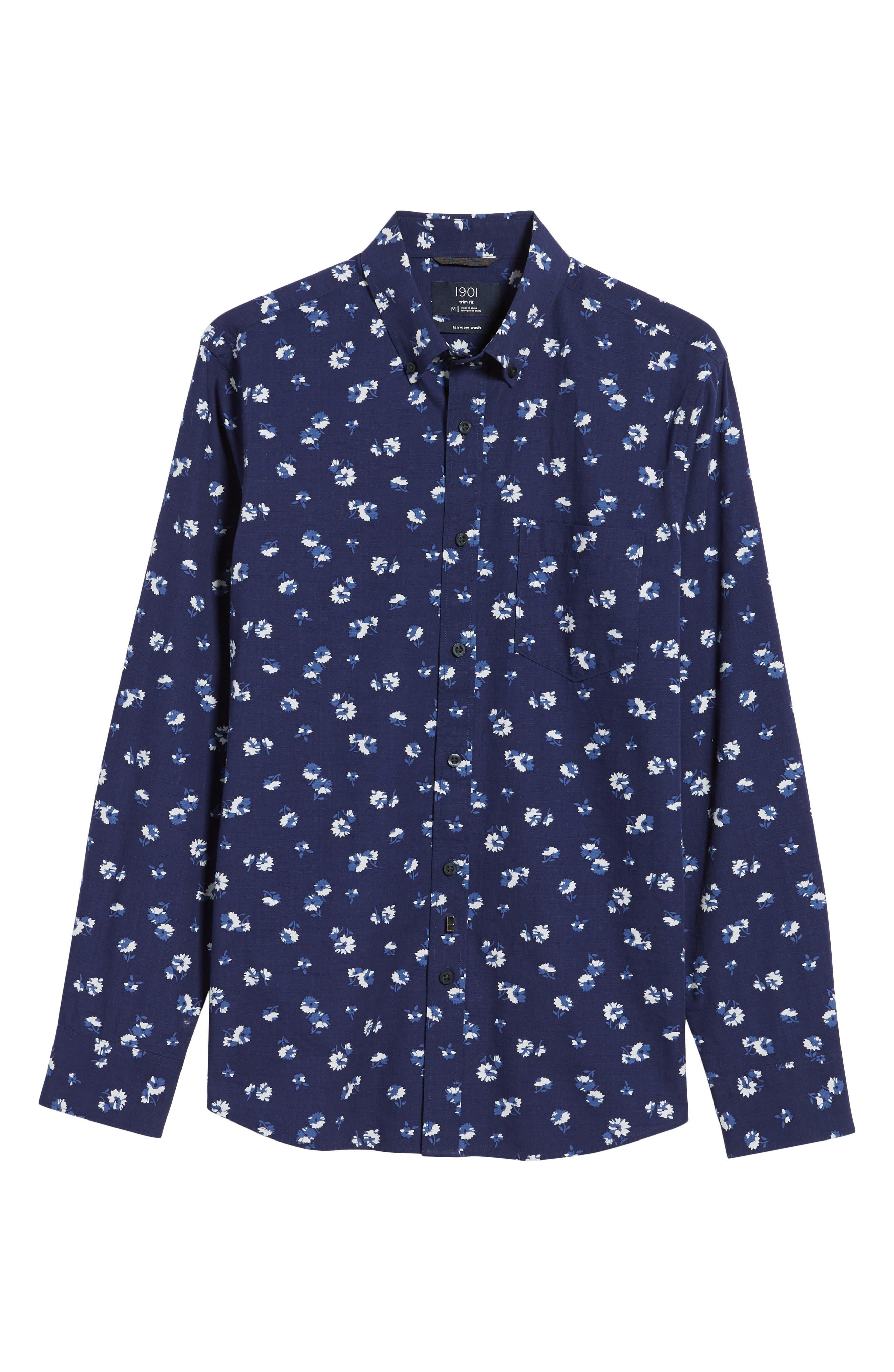 Trim Fit Floral Sport Shirt,                             Alternate thumbnail 8, color,                             Navy Iris Aster Flowers