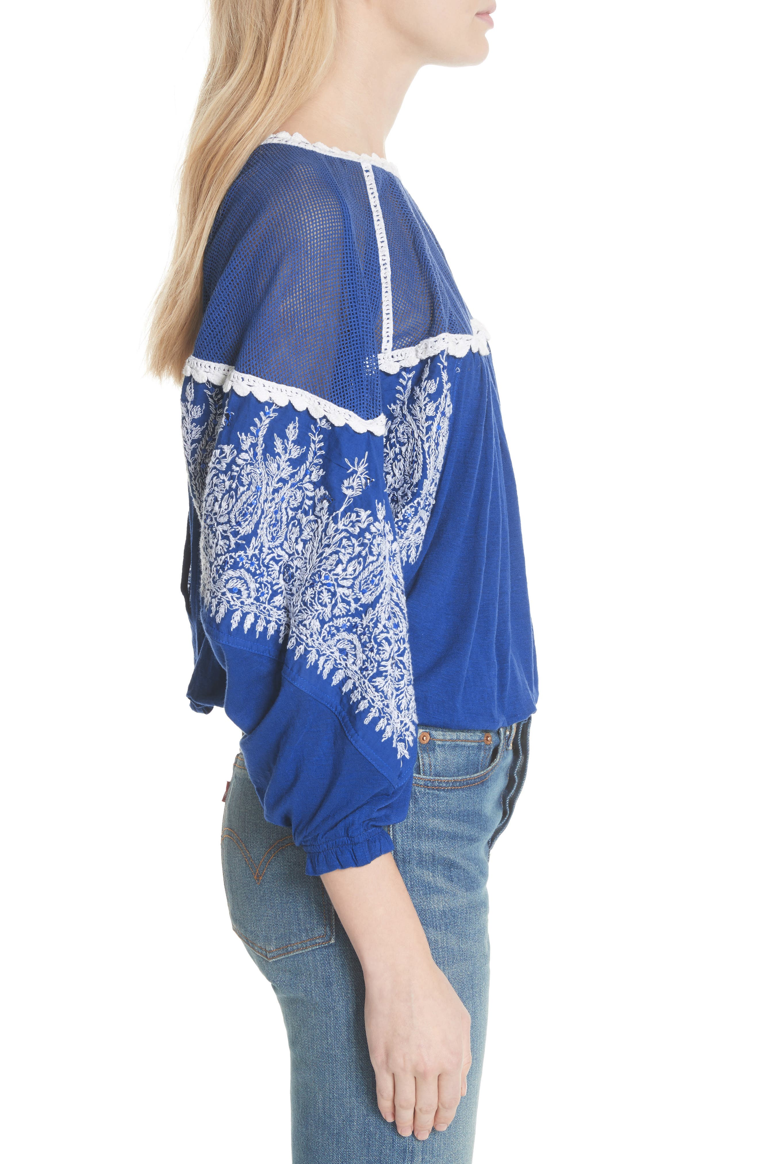 Carly Embroidered Blouse,                             Alternate thumbnail 3, color,                             Blue