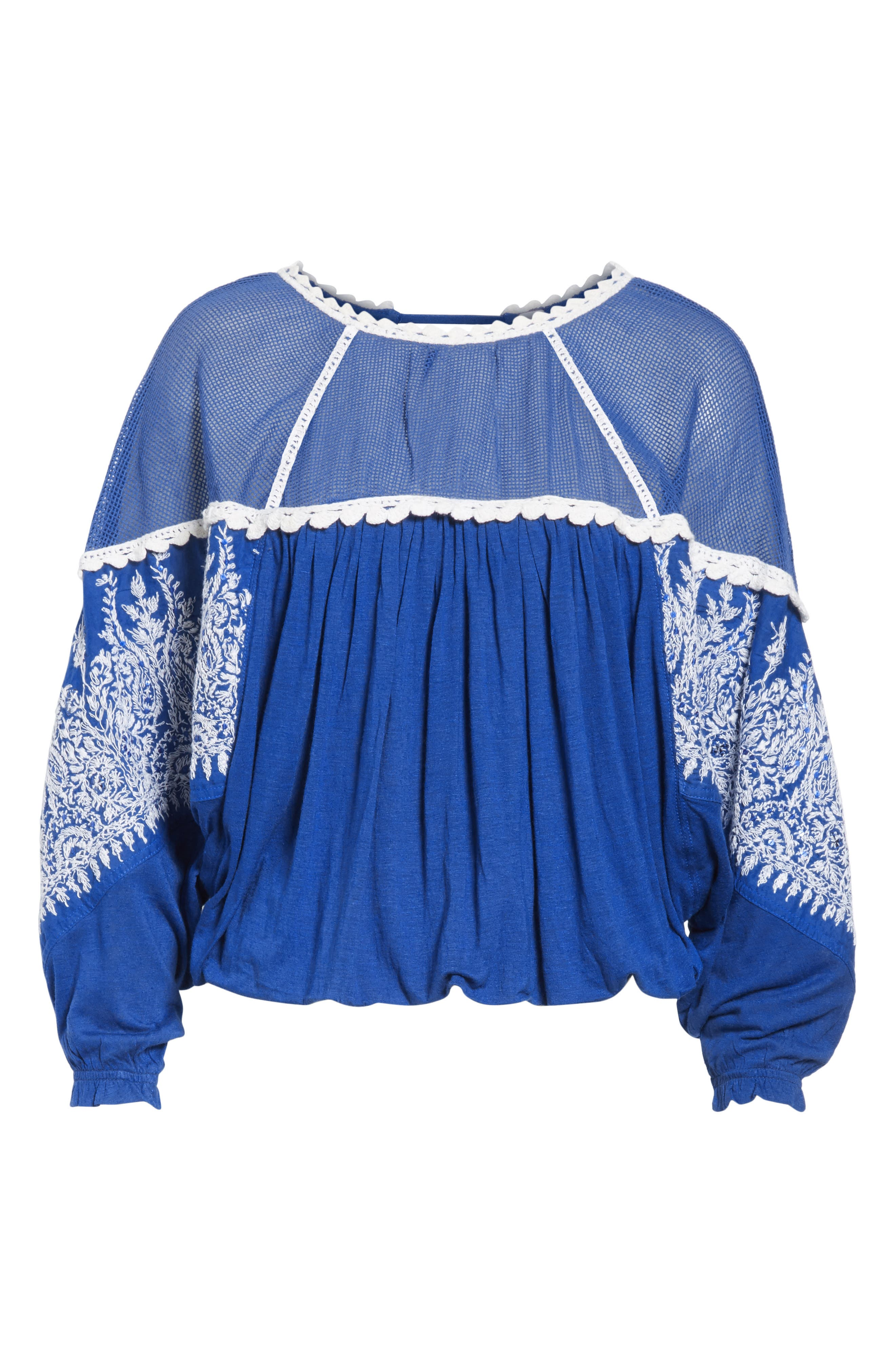 Carly Embroidered Blouse,                             Alternate thumbnail 6, color,                             Blue