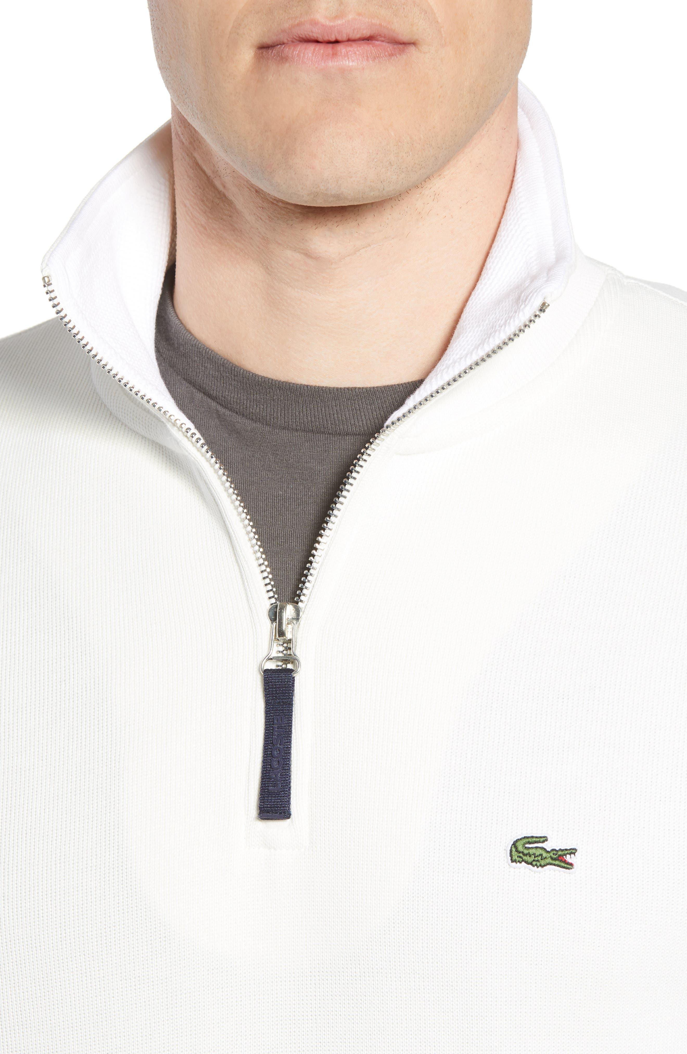 Quarter Zip Cotton Interlock Sweatshirt,                             Alternate thumbnail 4, color,                             Flour/ White