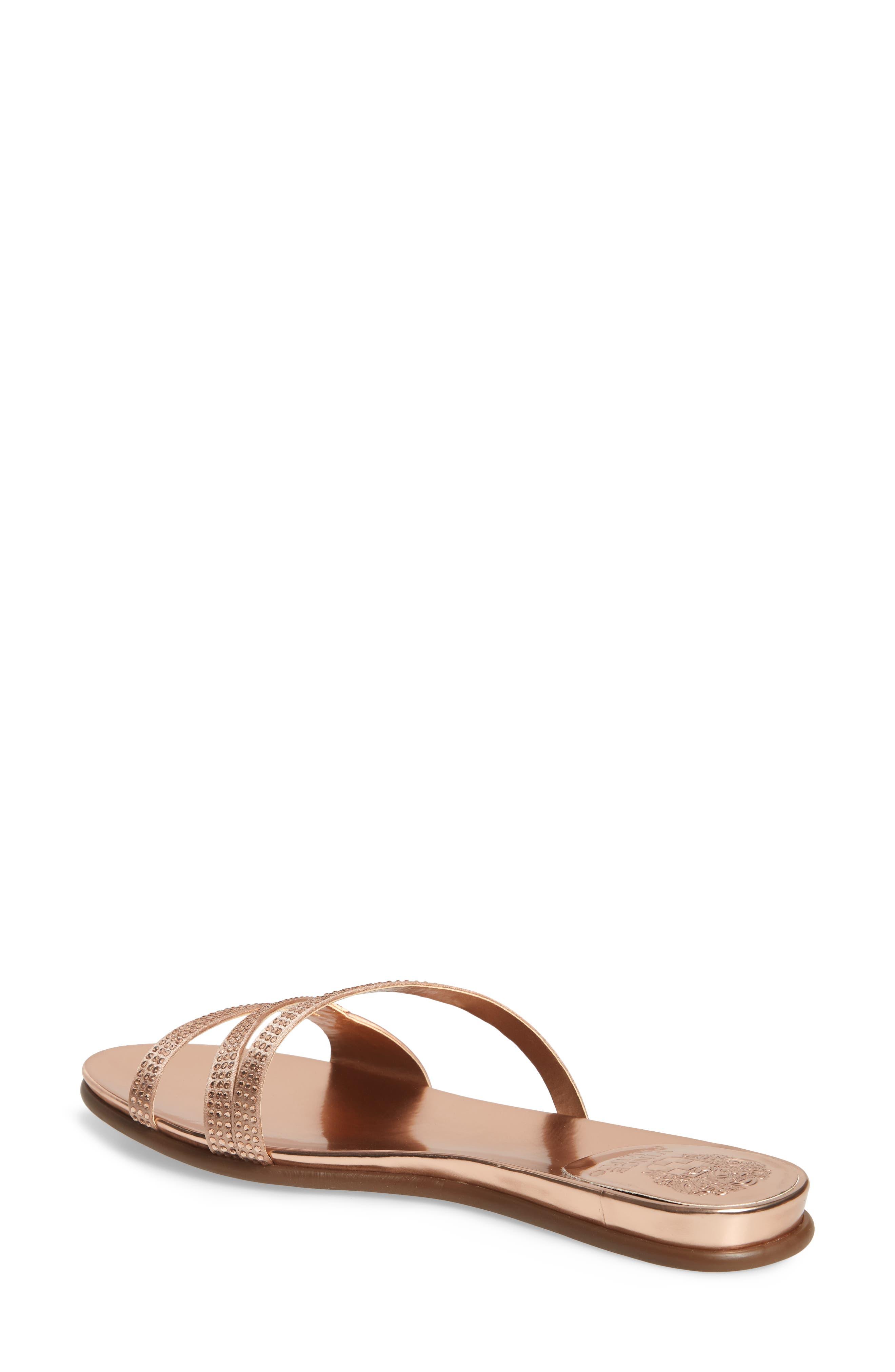Elouisa Crystal Slide Sandal,                             Alternate thumbnail 2, color,                             Pink Bisque Satin
