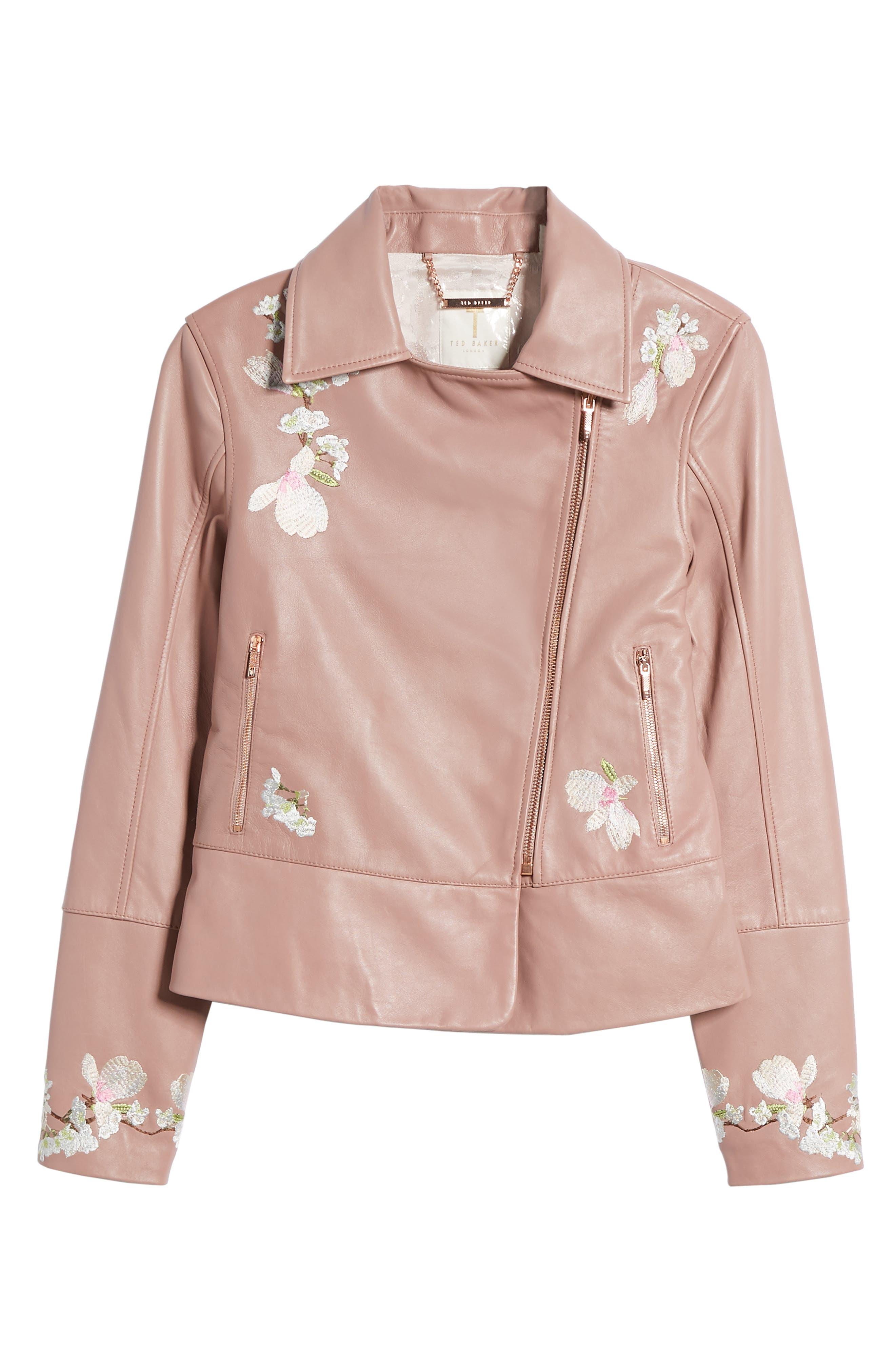 Harmony Embroidered Leather Biker Jacket,                             Alternate thumbnail 7, color,                             Dusky Pink