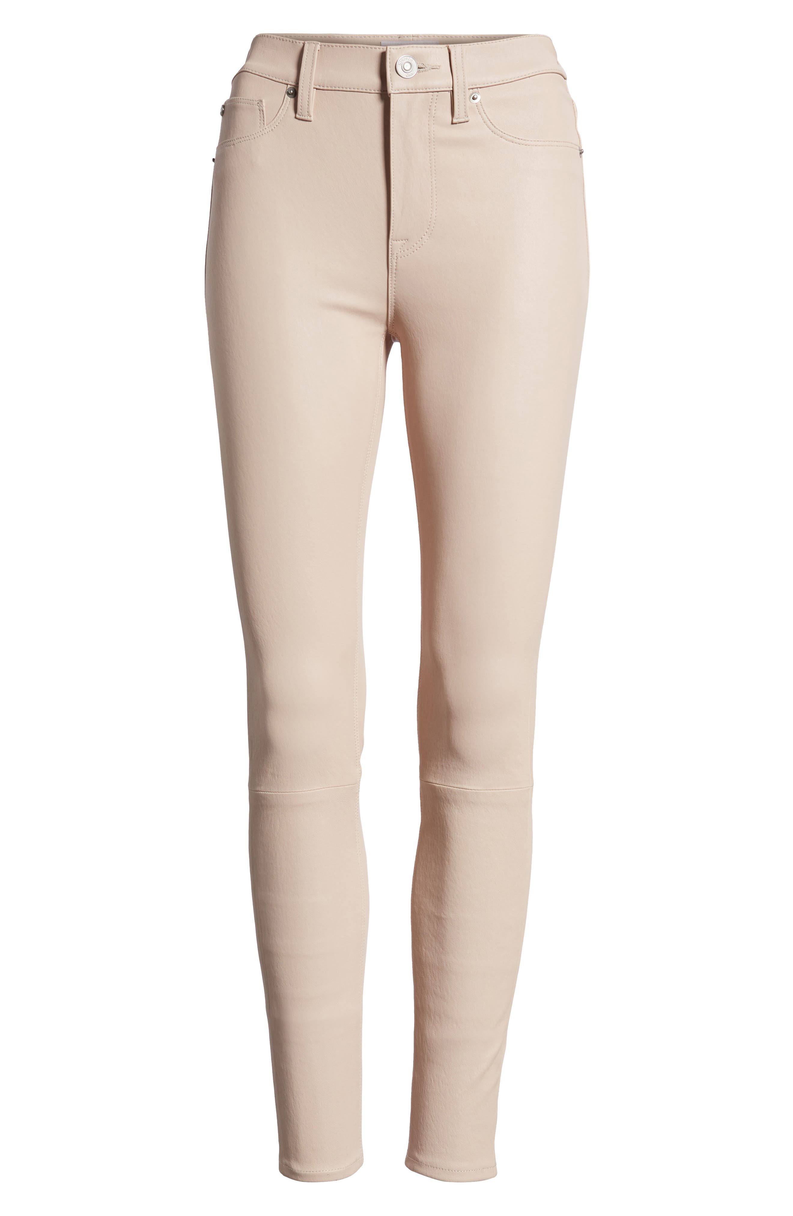 Barbara High Waist Ankle Skinny Leather Jeans,                             Alternate thumbnail 6, color,                             Blushing