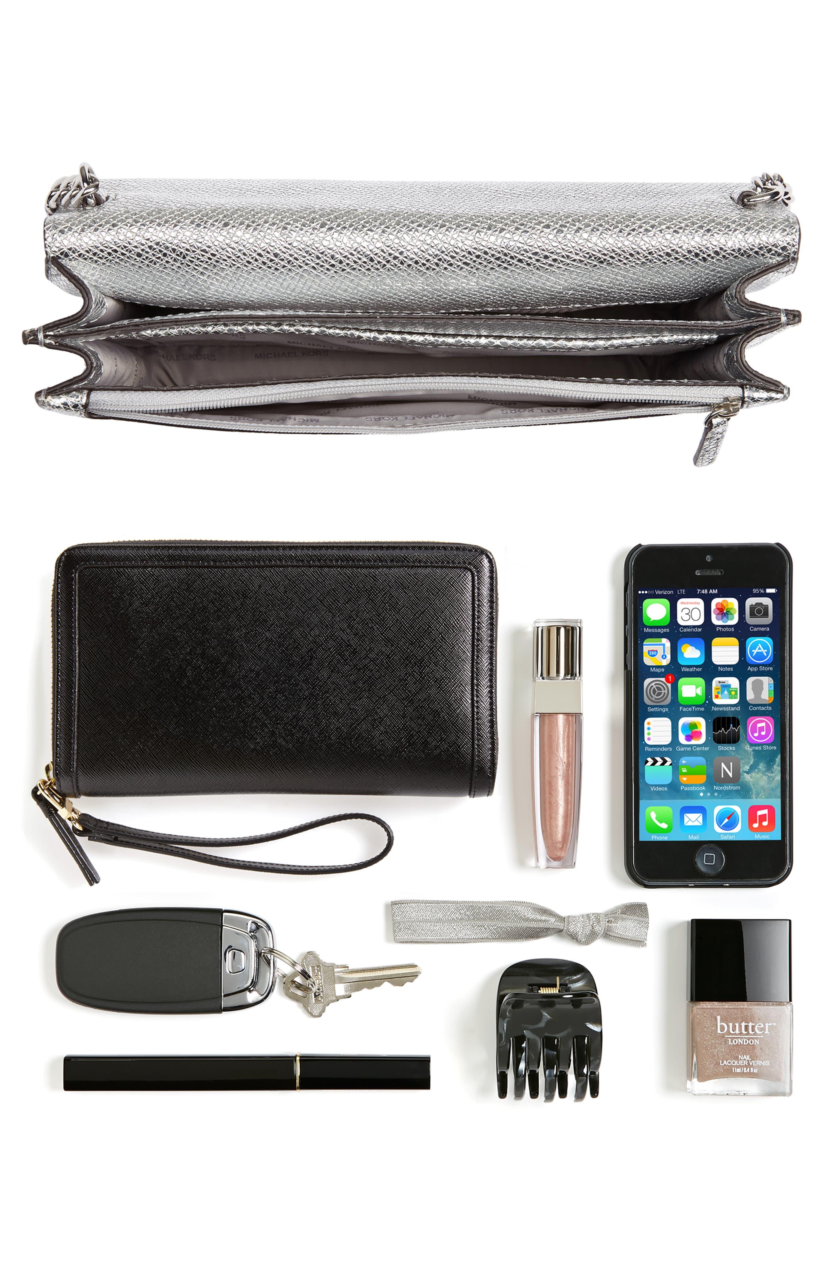 MICHAEL Michael Kors Large Metallic Leather Crossbody Bag,                             Alternate thumbnail 7, color,