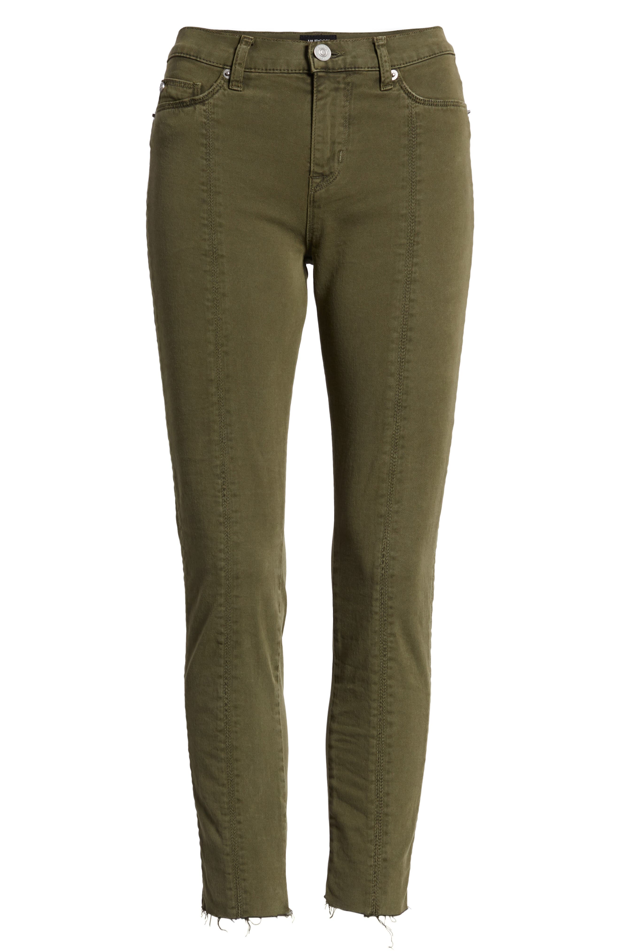 Nico Lace-Up Crop Super Skinny Jeans,                             Alternate thumbnail 7, color,                             Crushed Olive