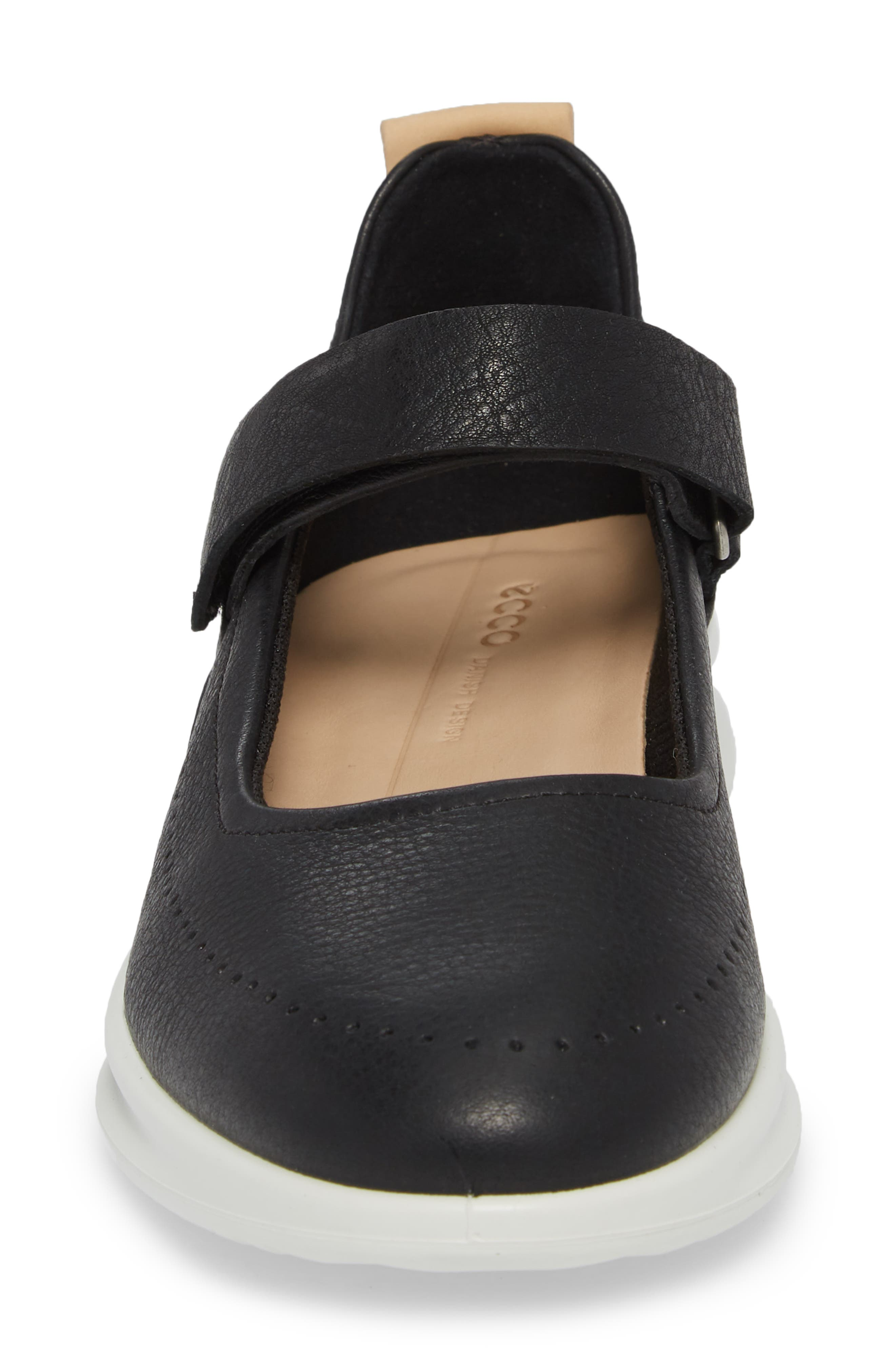 Aquet Mary Jane Wedge Sneaker,                             Alternate thumbnail 4, color,                             Black Leather