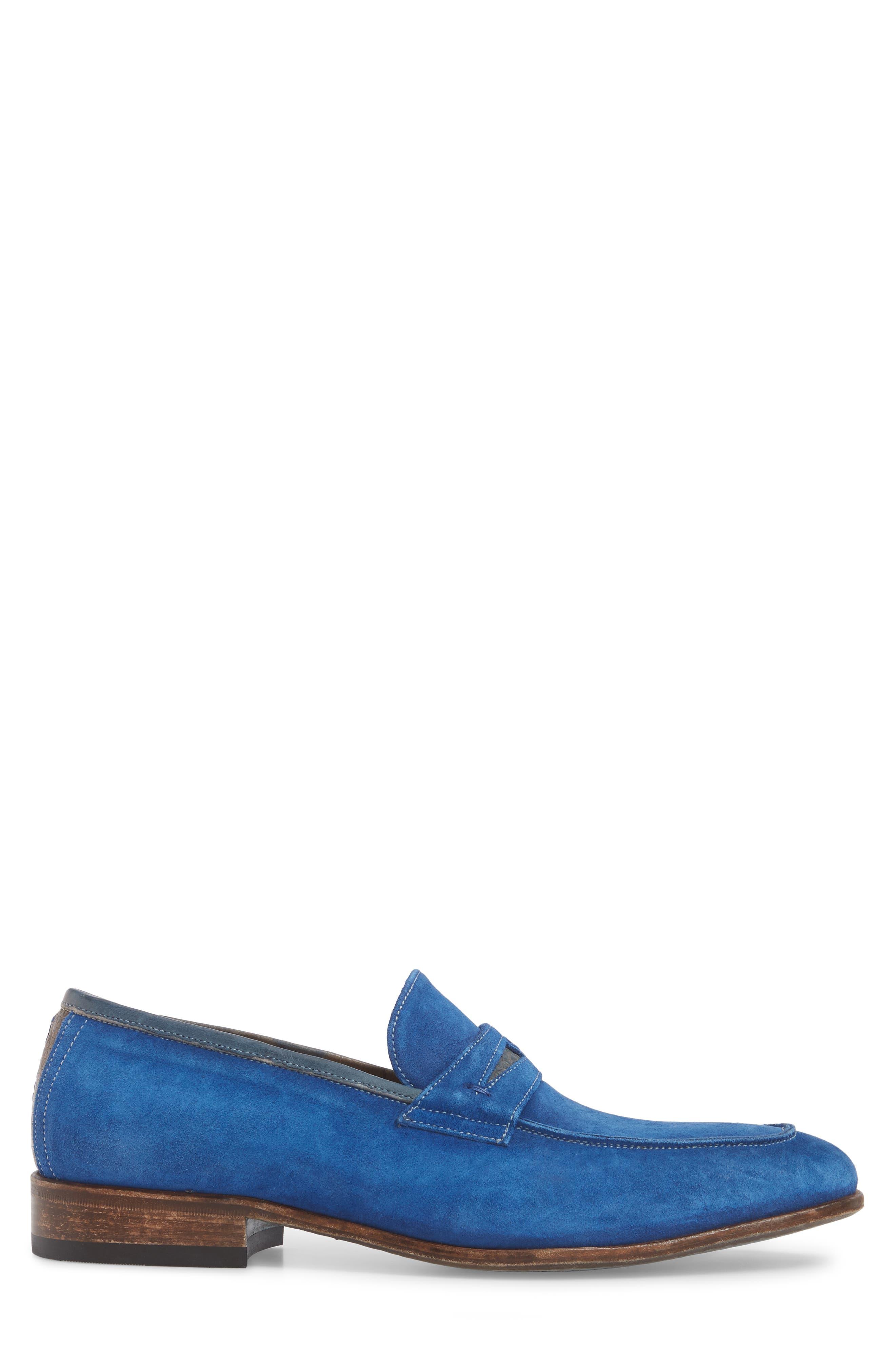 Lex Apron Toe Penny Loafer,                             Alternate thumbnail 3, color,                             Blue Suede