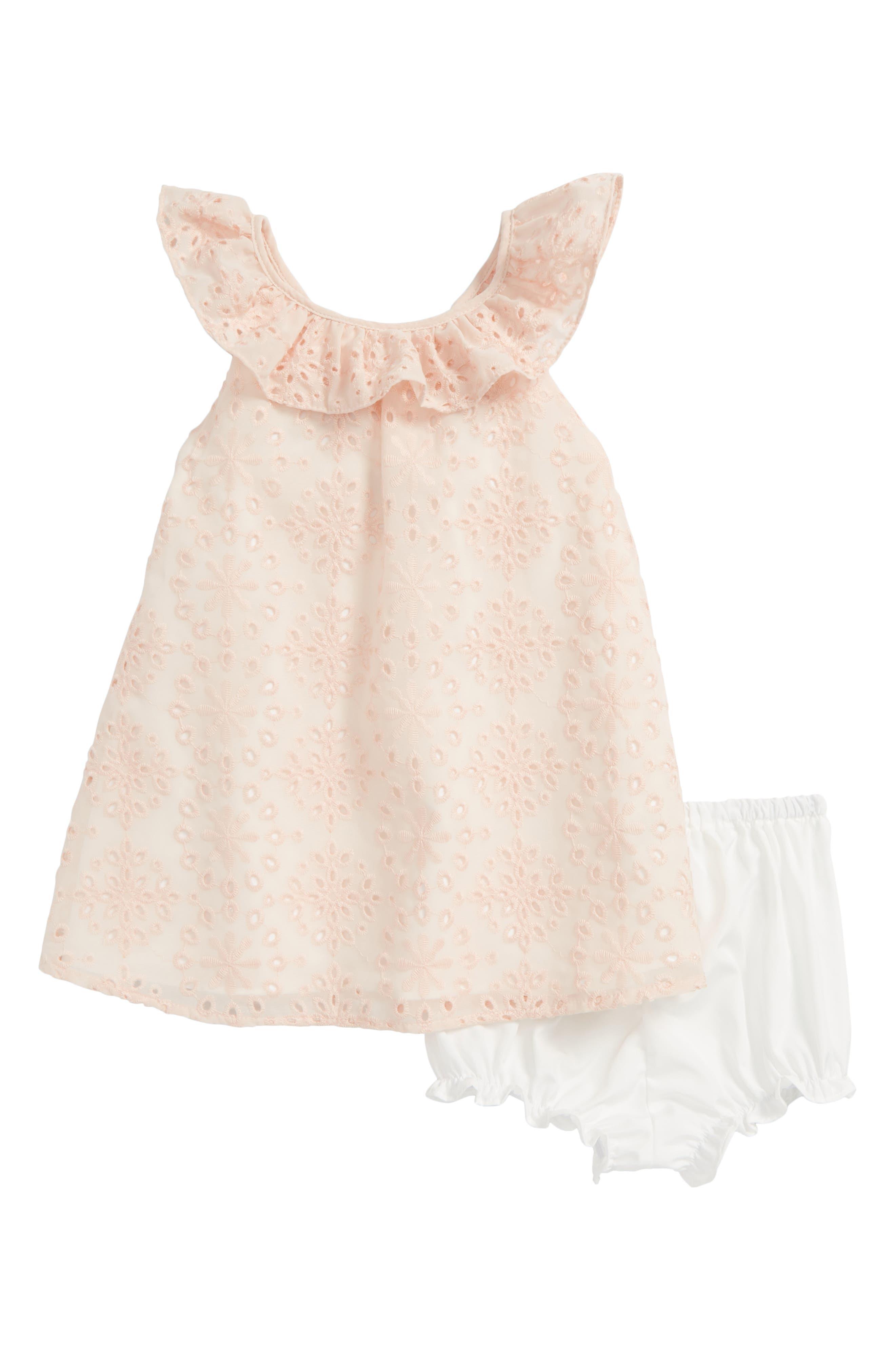 Back Bow Eyelet Dress,                         Main,                         color, Pink