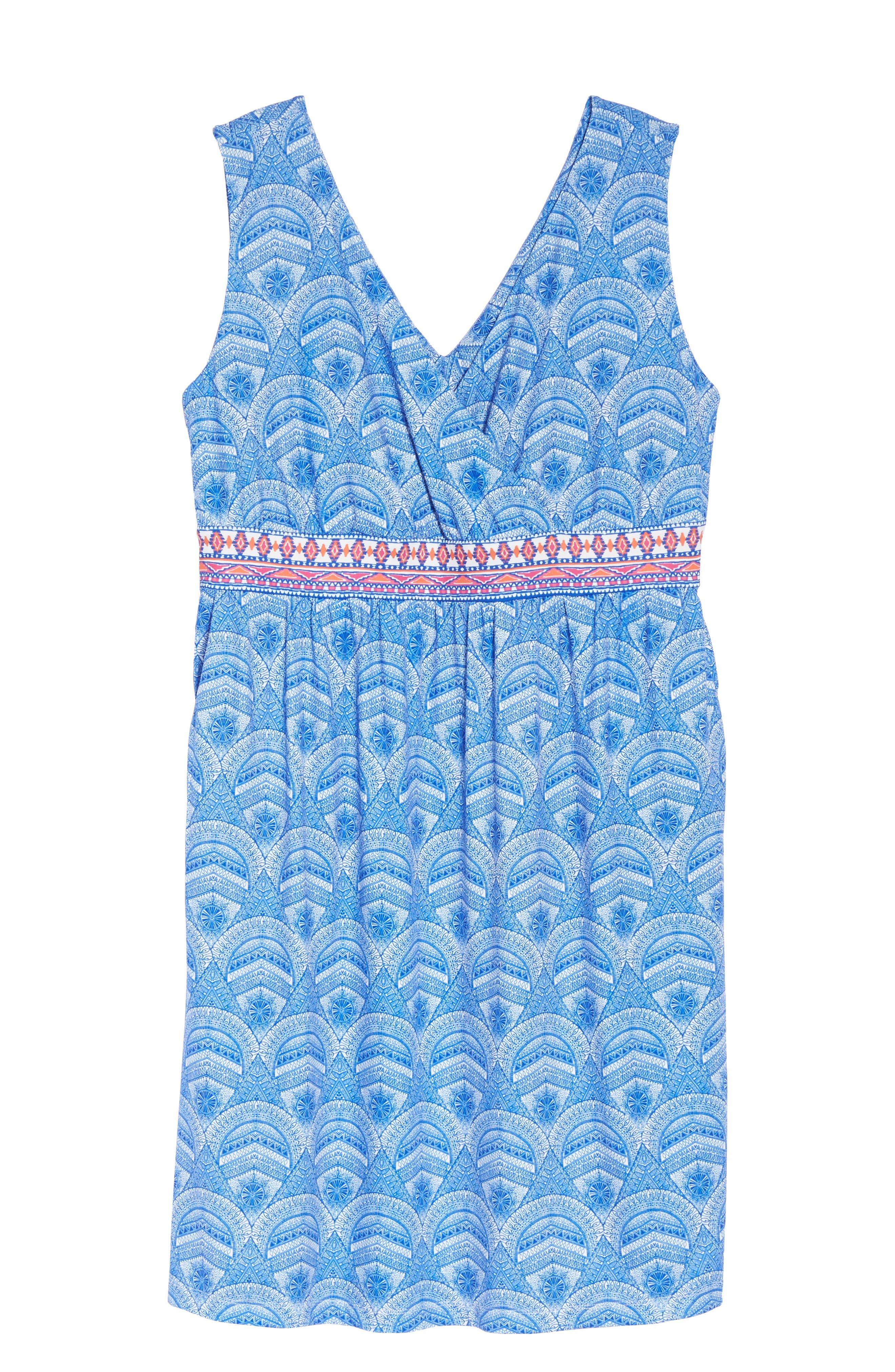Rosine Print A-Line Dress,                             Alternate thumbnail 6, color,                             Lapis Blue