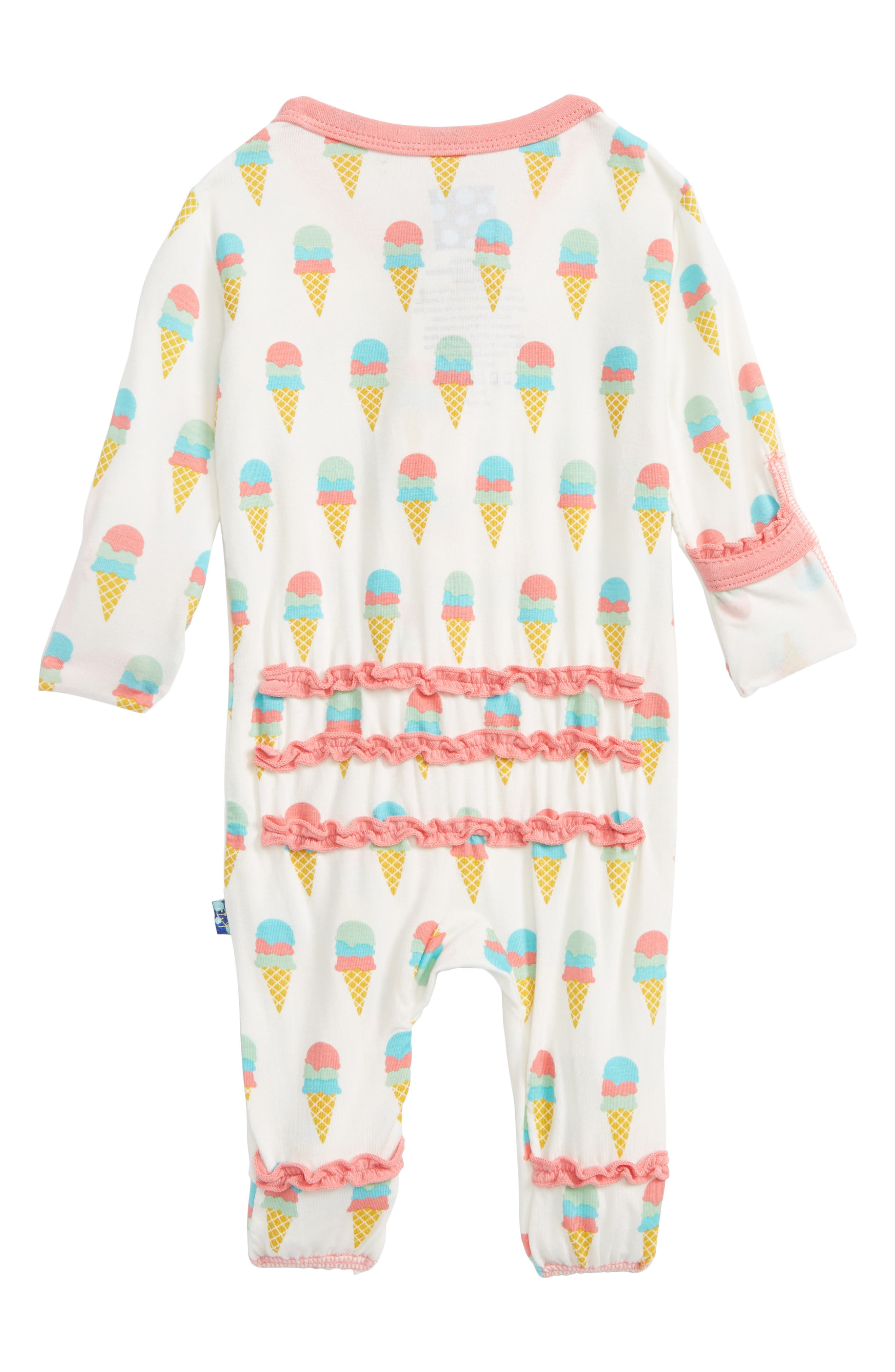 Ruffle Footie,                             Alternate thumbnail 2, color,                             Natural Ice Cream