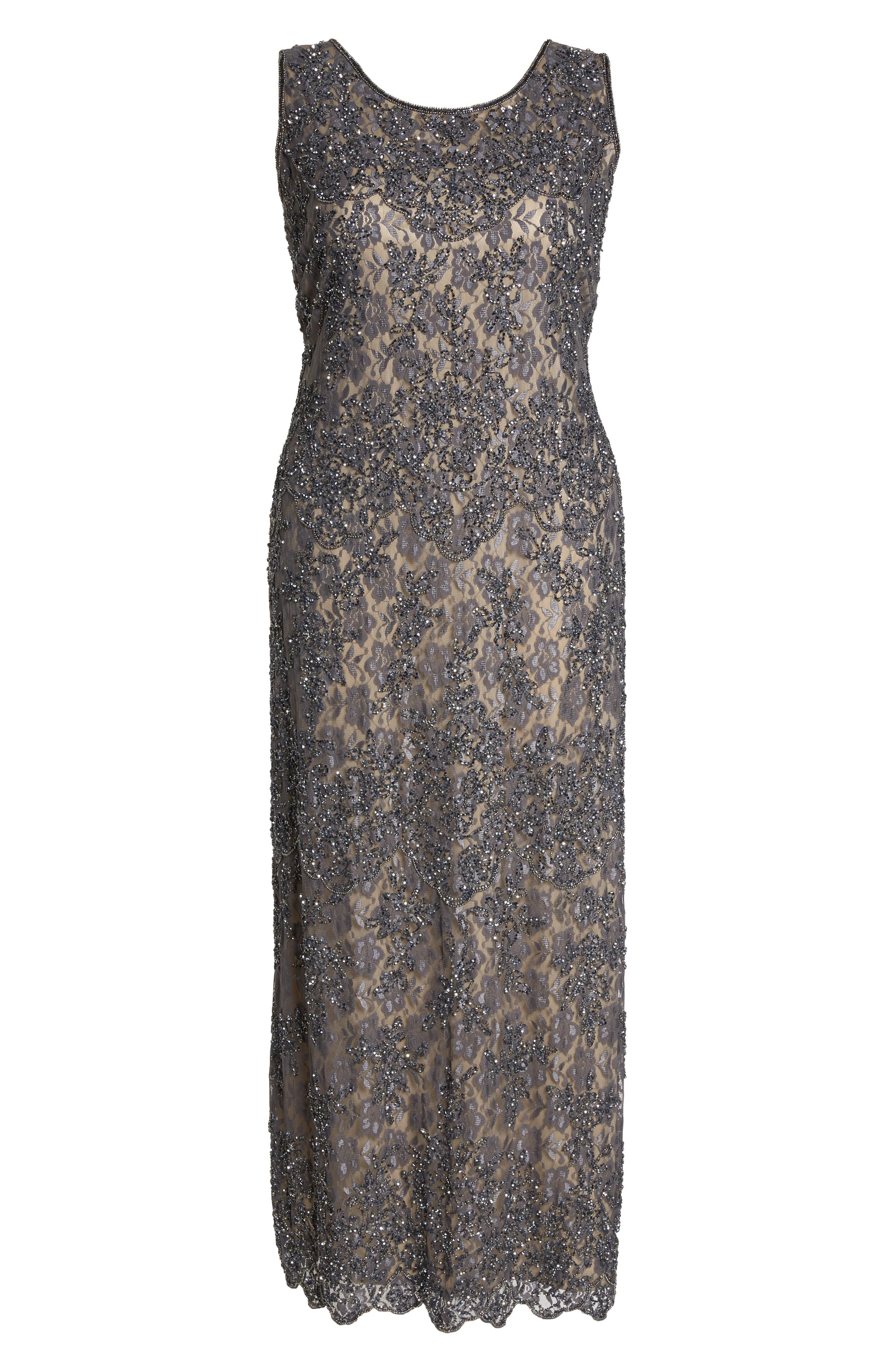 Embellished Lace A-Line Dress,                             Alternate thumbnail 5, color,                             Graphite