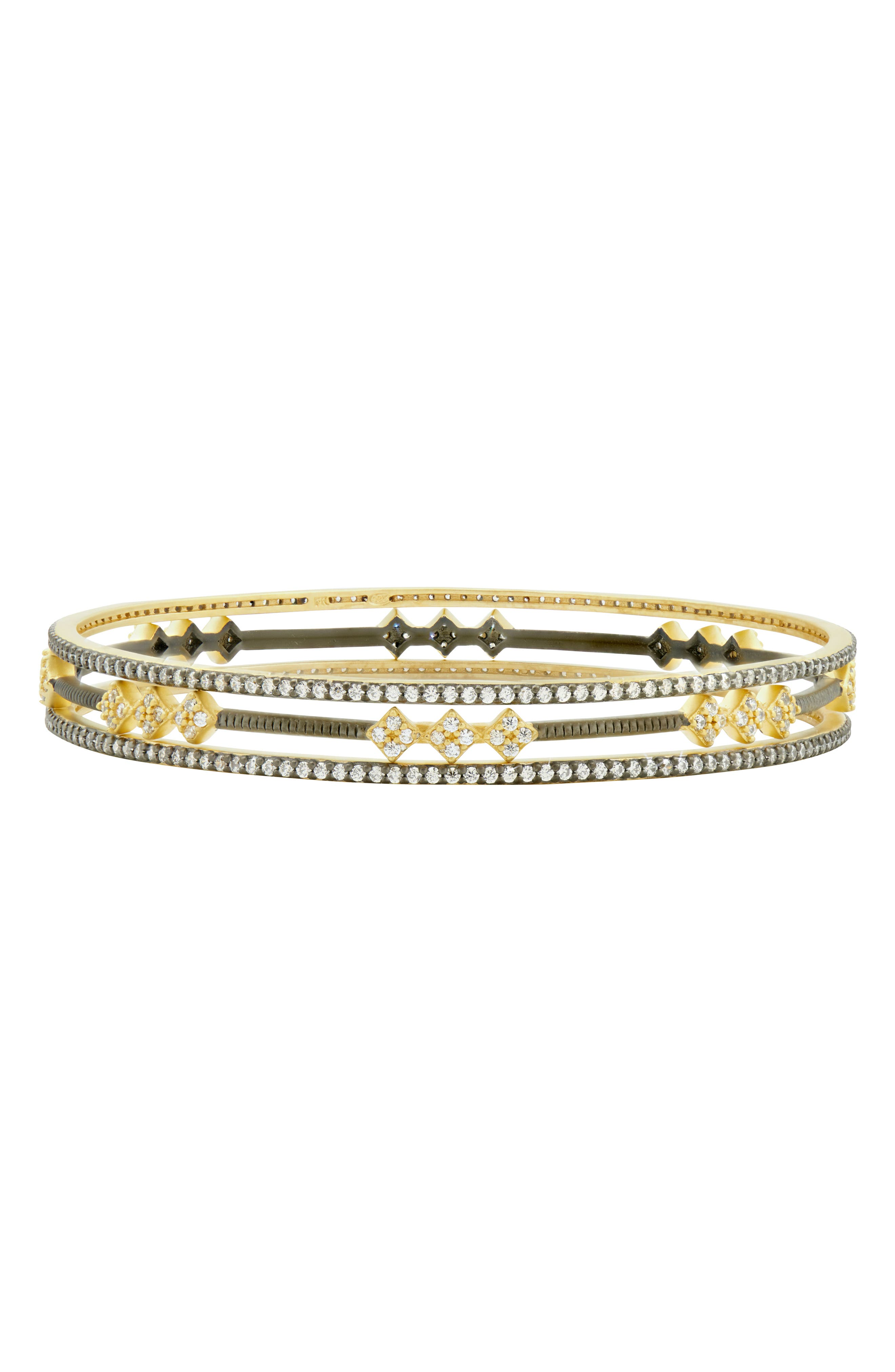 Rose Dor 3-Stack Bracelets,                         Main,                         color, Black/ Gold