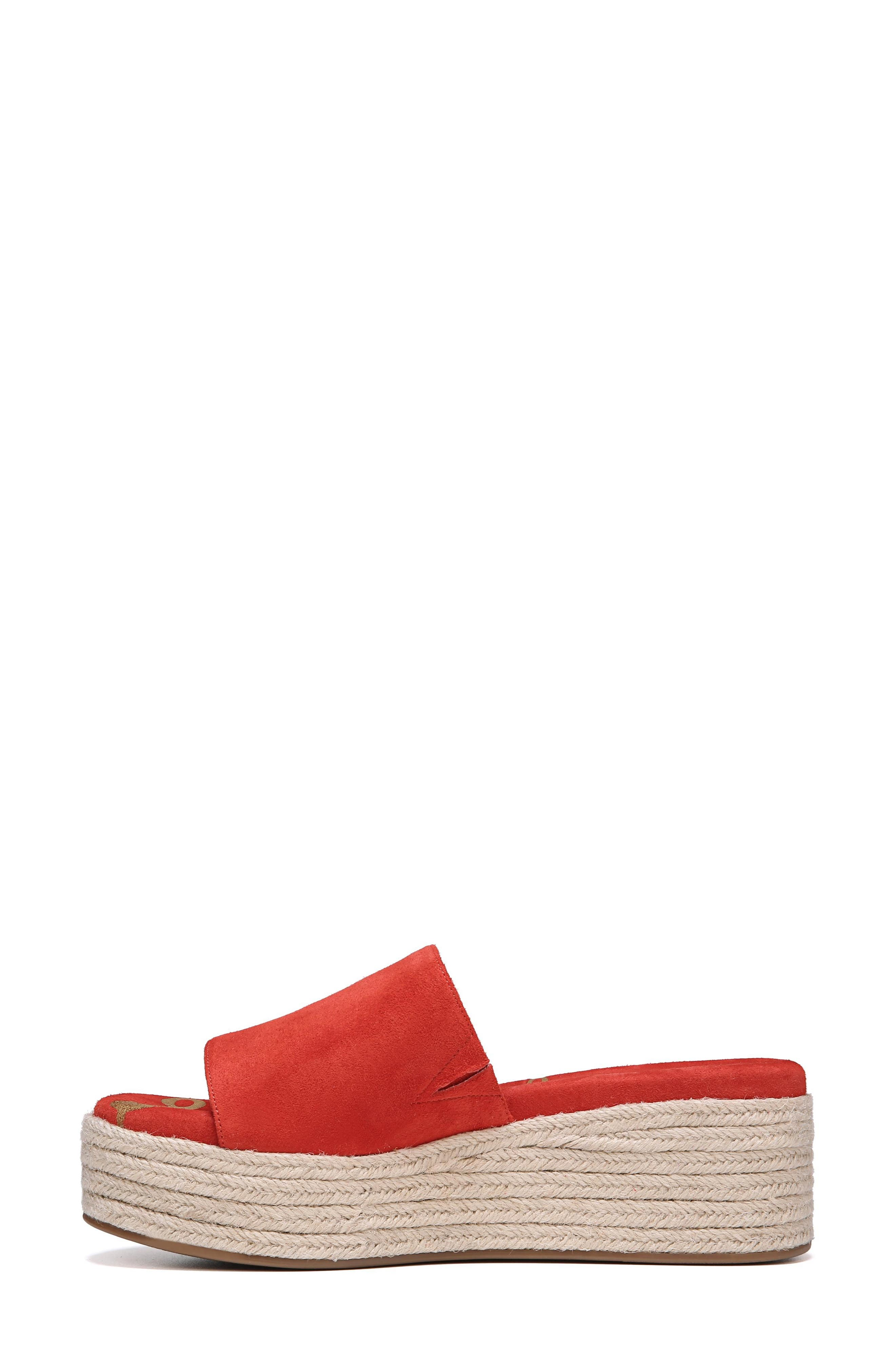 Weslee Platform Slide Sandal,                             Alternate thumbnail 3, color,                             Candy Red Suede