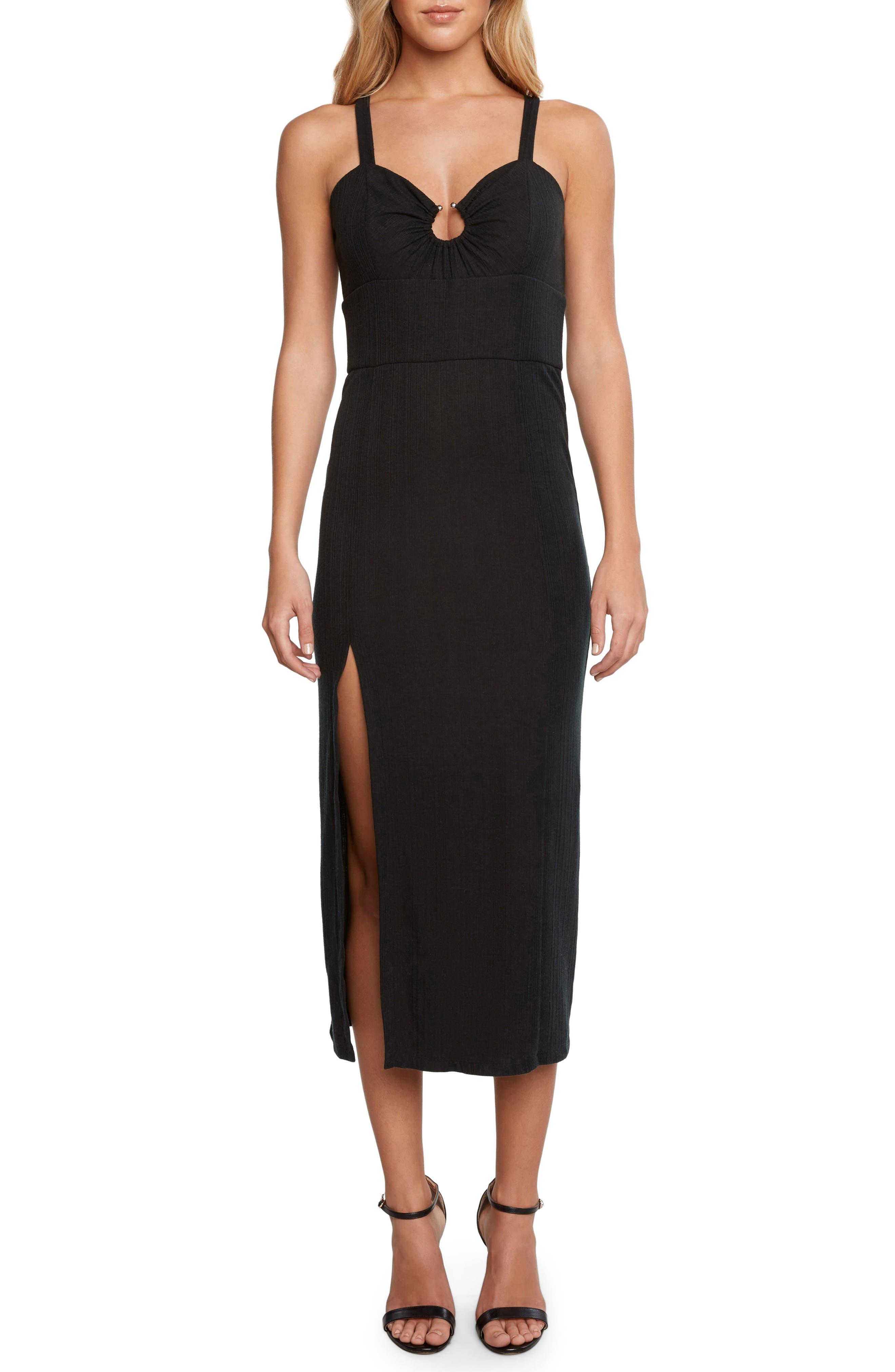 Karina Ribbed Midi Dress,                             Main thumbnail 1, color,                             Black