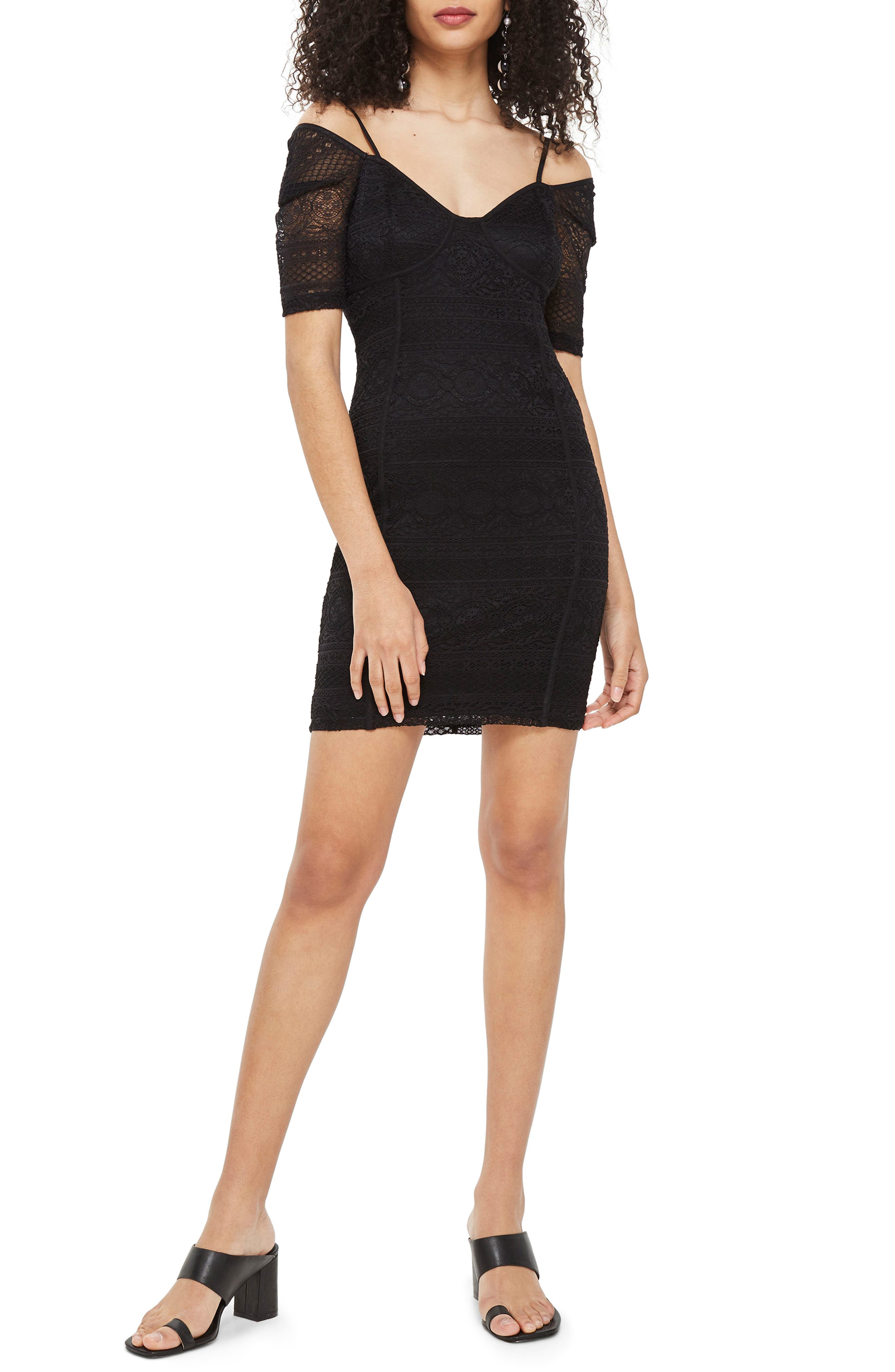 Sweetheart Neck Lace Body-Con Minidress,                             Main thumbnail 1, color,                             Black