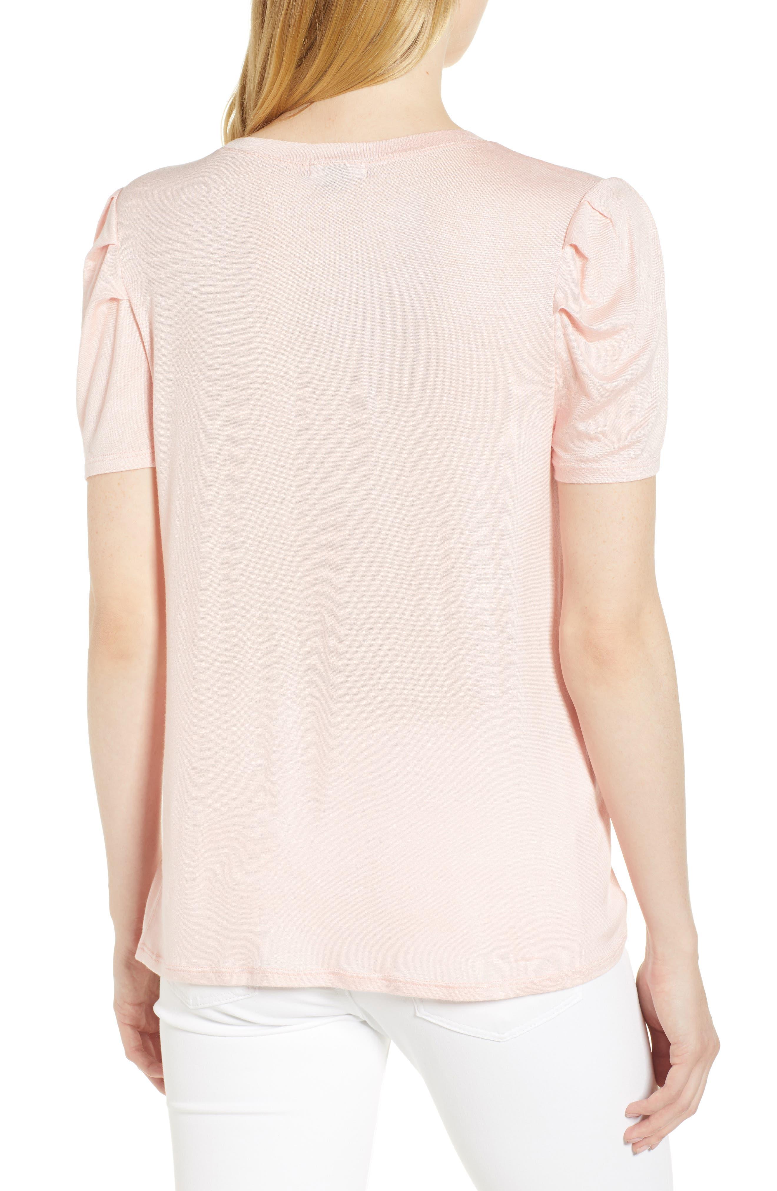 Shoulder Pleat Tee,                             Alternate thumbnail 2, color,                             Pink Hero