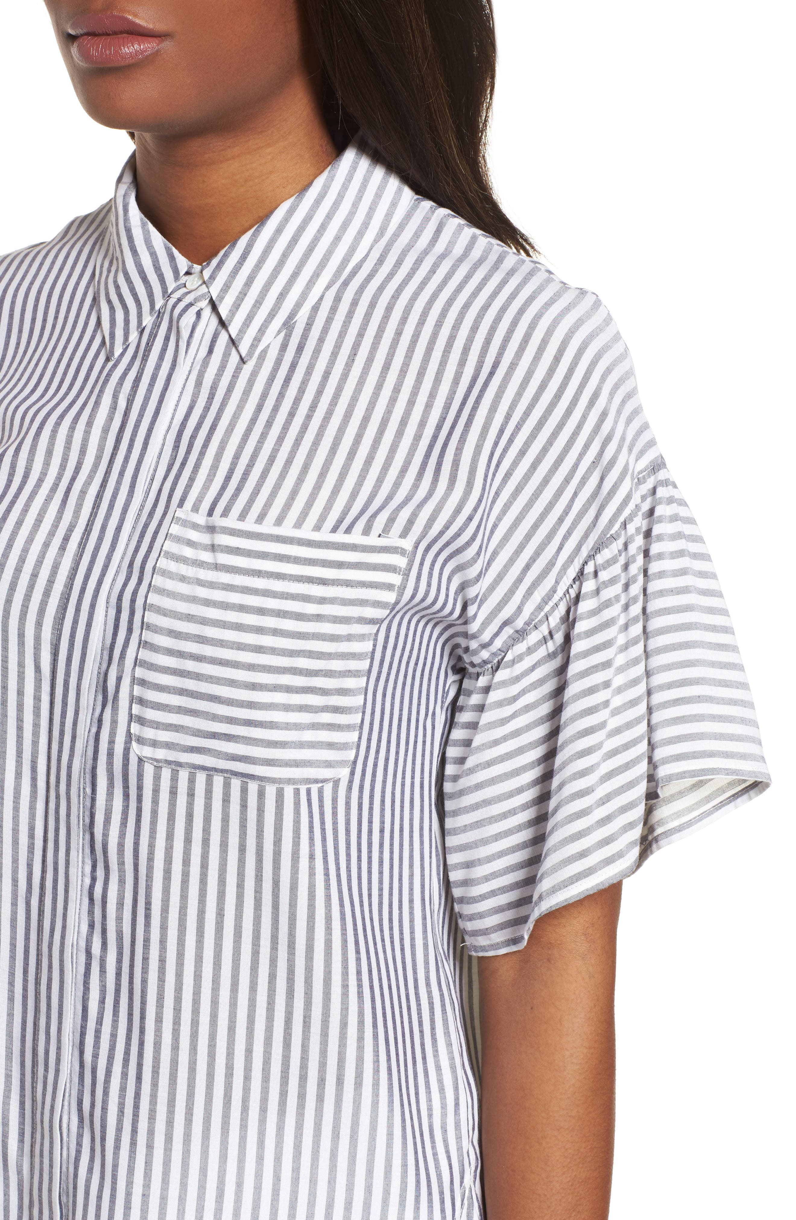Drop Shoulder Flutter Sleeve Stripe Shirt,                             Alternate thumbnail 4, color,                             Blue Night