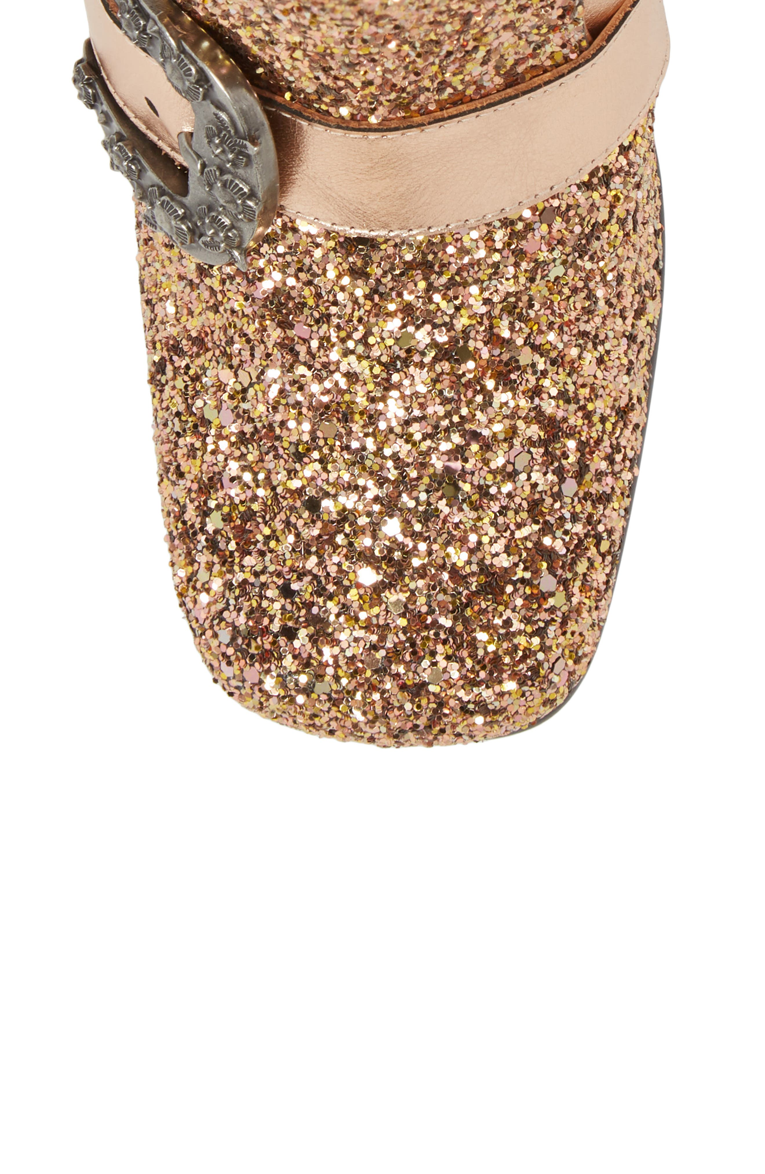 Glitter Western Bootie,                             Alternate thumbnail 5, color,                             Rose Gold Leather