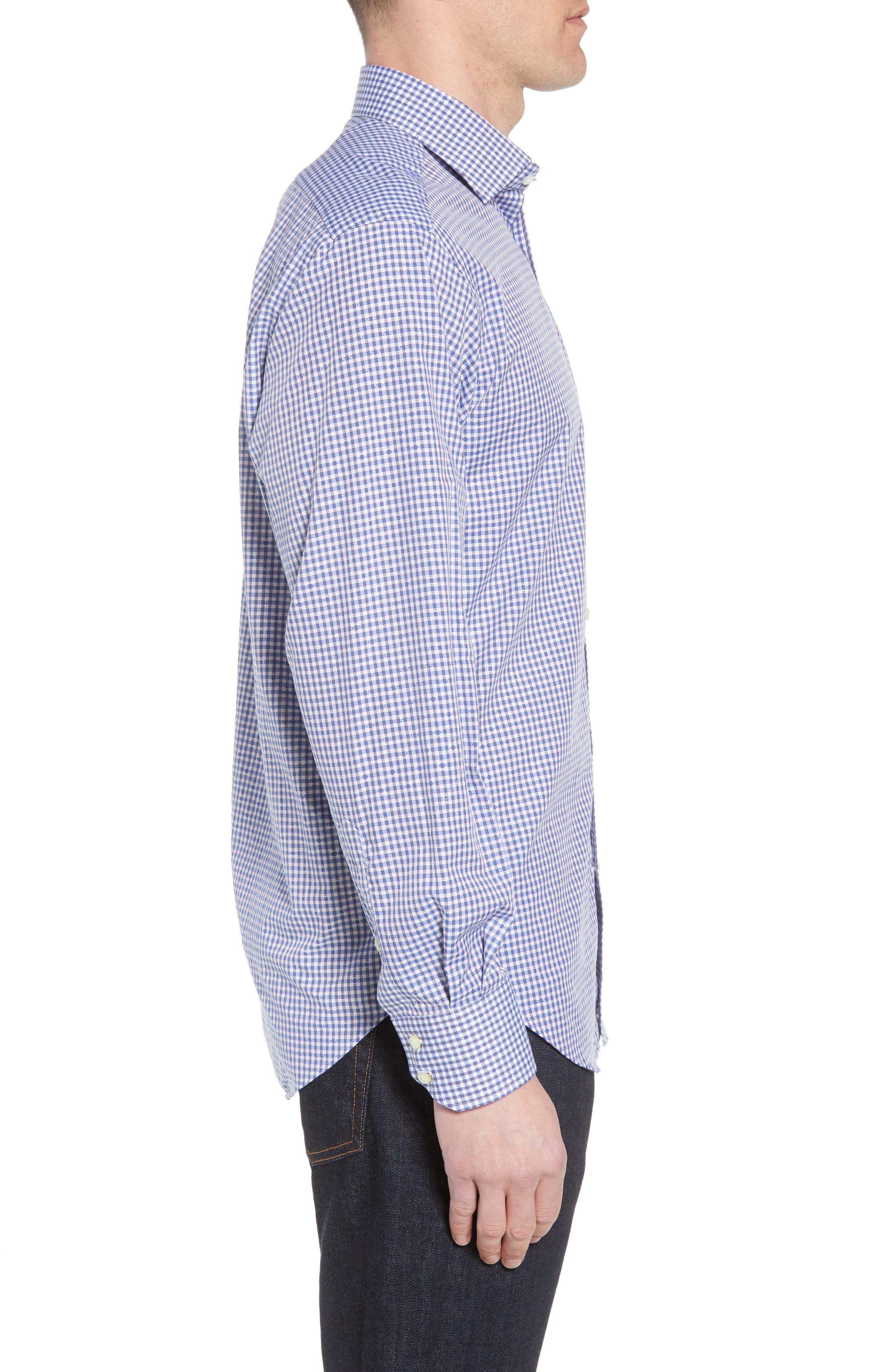 Regular Fit Check Sport Shirt,                             Alternate thumbnail 3, color,                             Blue